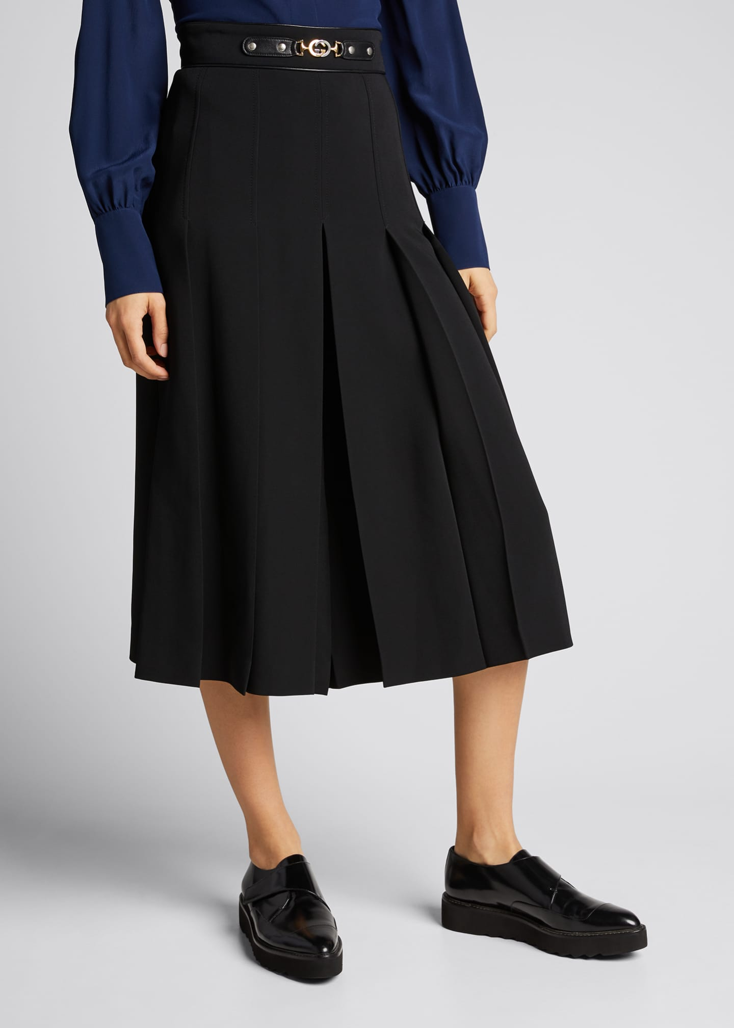Image 3 of 5: Viscose Cady Pleated Skirt with Horsebit Detail