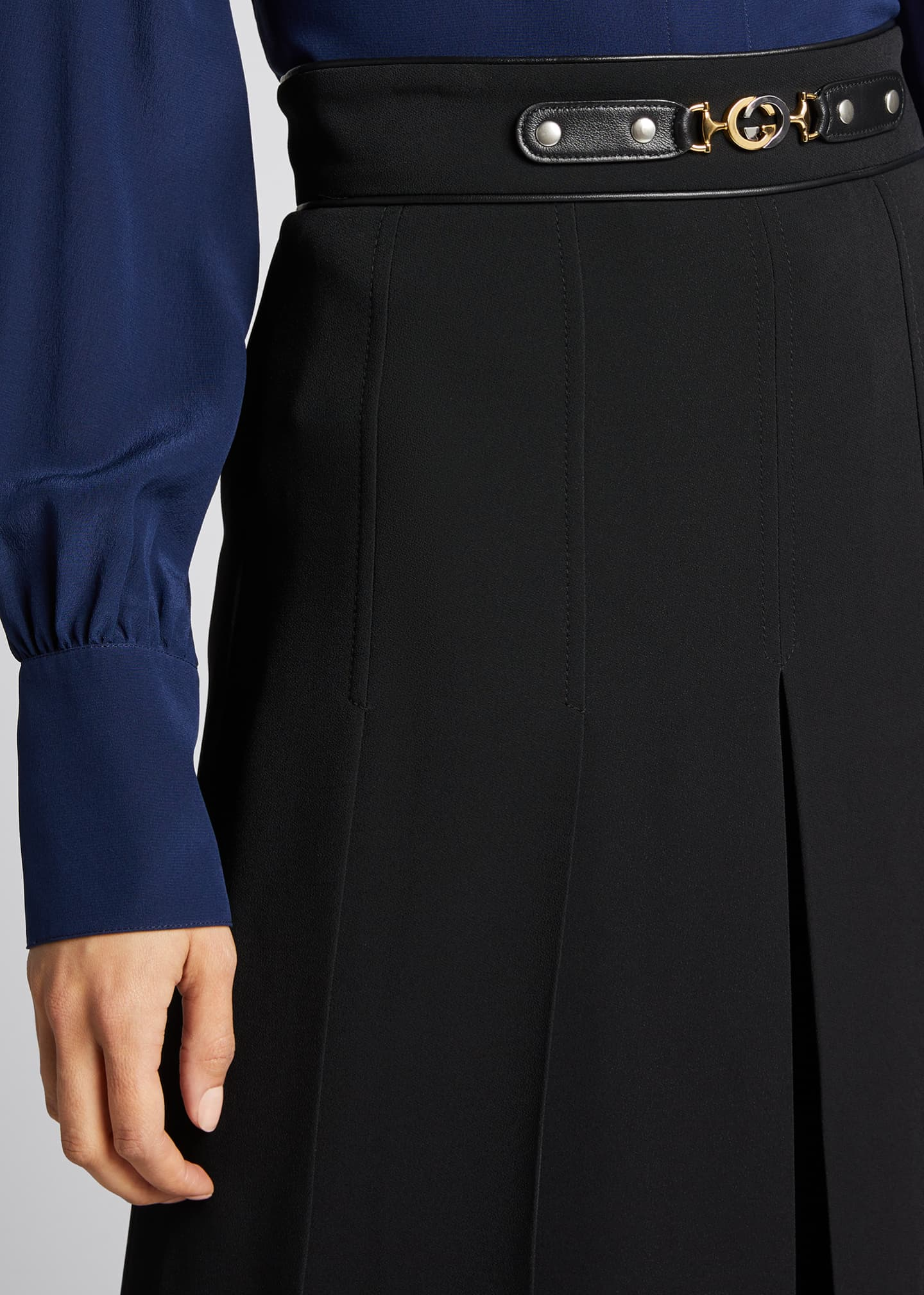 Image 4 of 5: Viscose Cady Pleated Skirt with Horsebit Detail