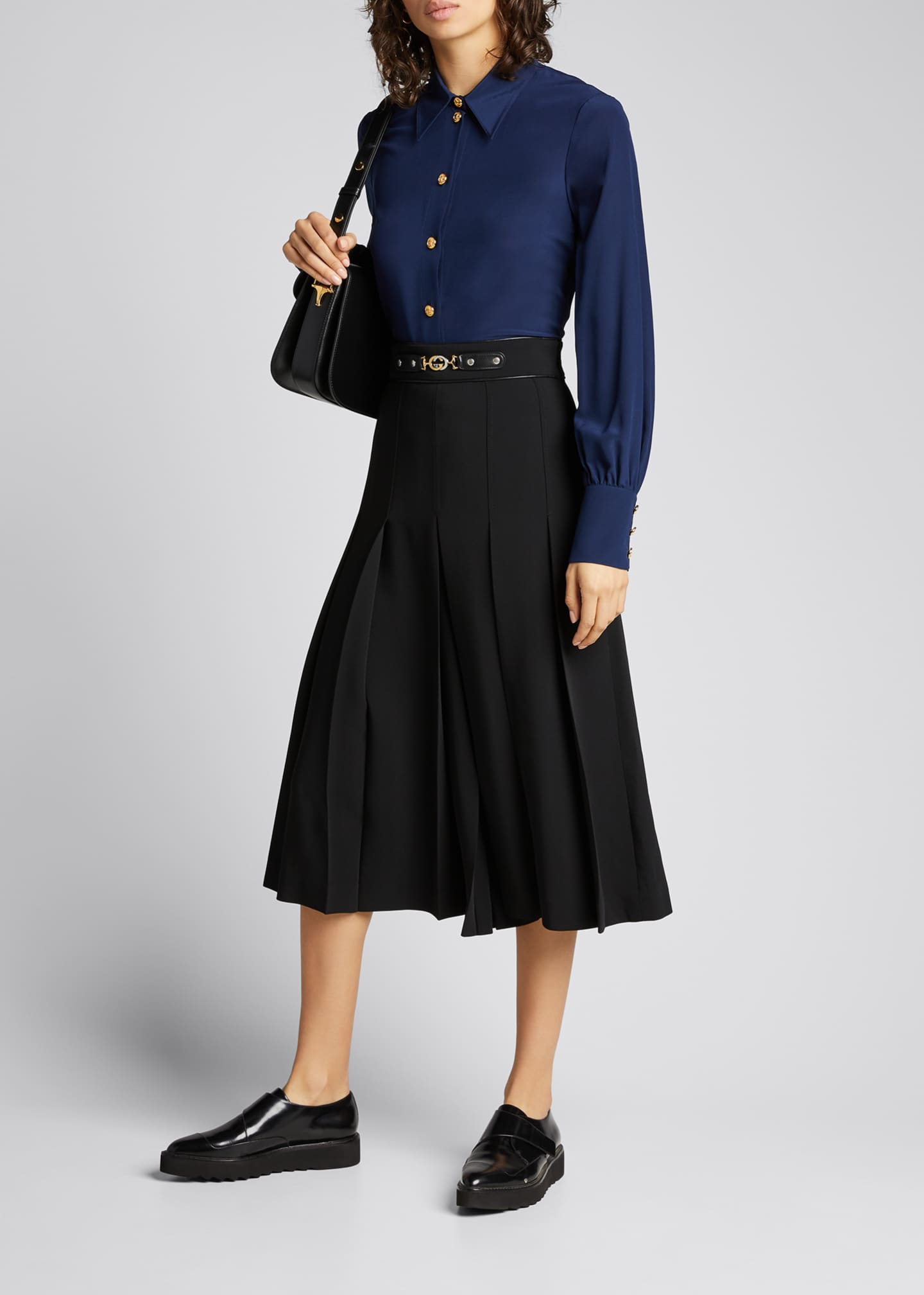 Image 1 of 5: Viscose Cady Pleated Skirt with Horsebit Detail
