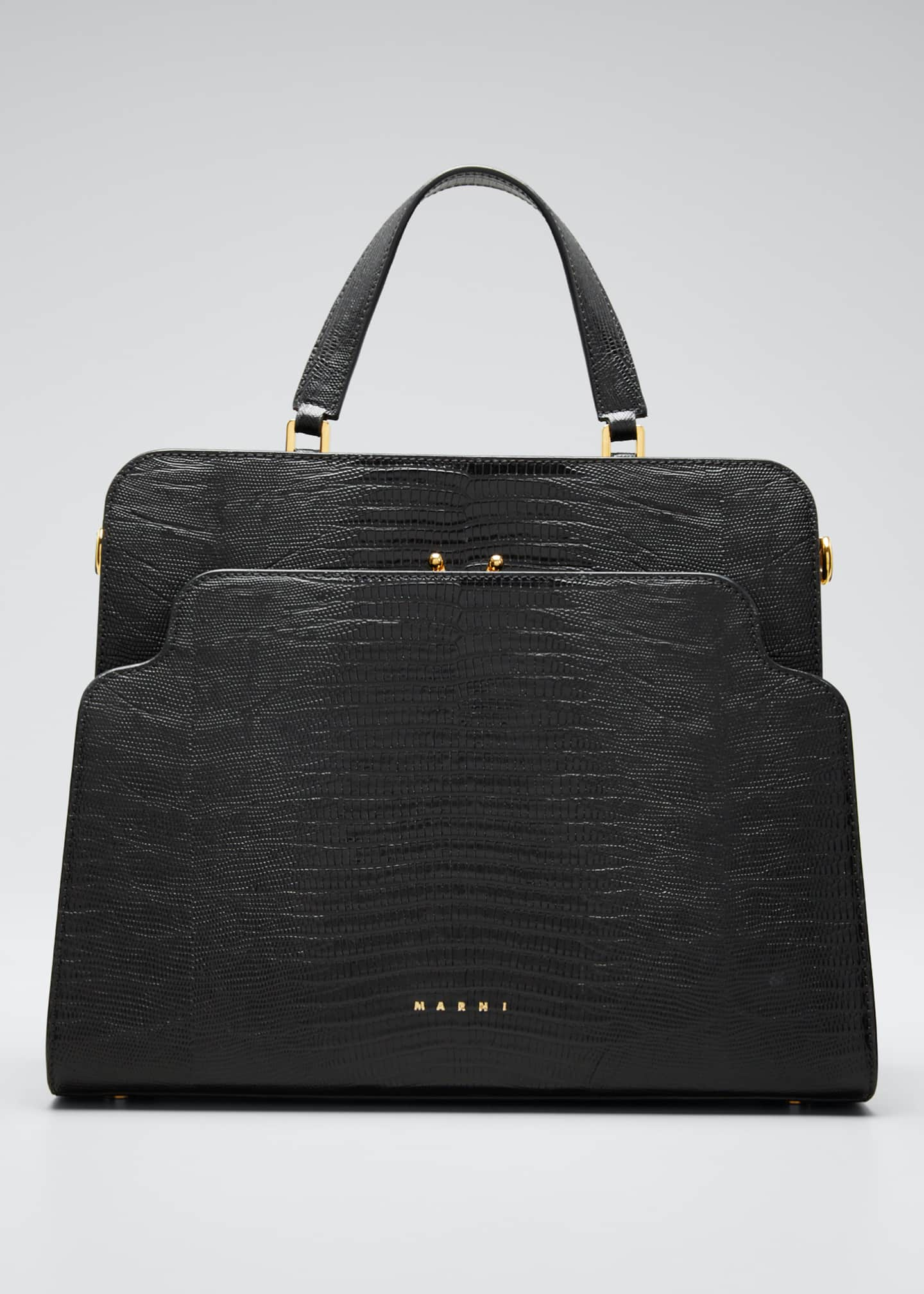 Marni Lizard Stamped Trunk Revers Bag