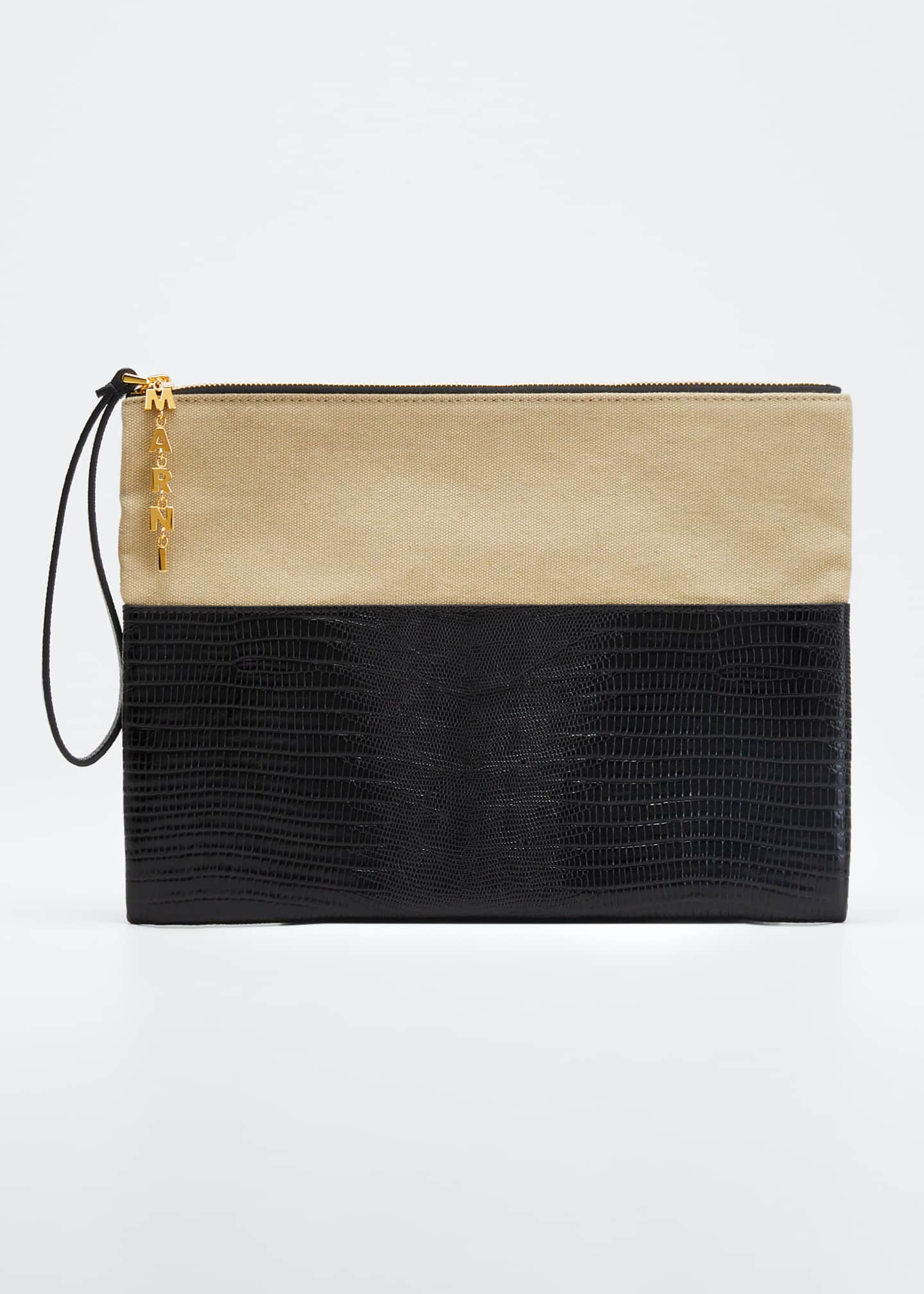 Marni Canvas and Lizard Pochette Wallet