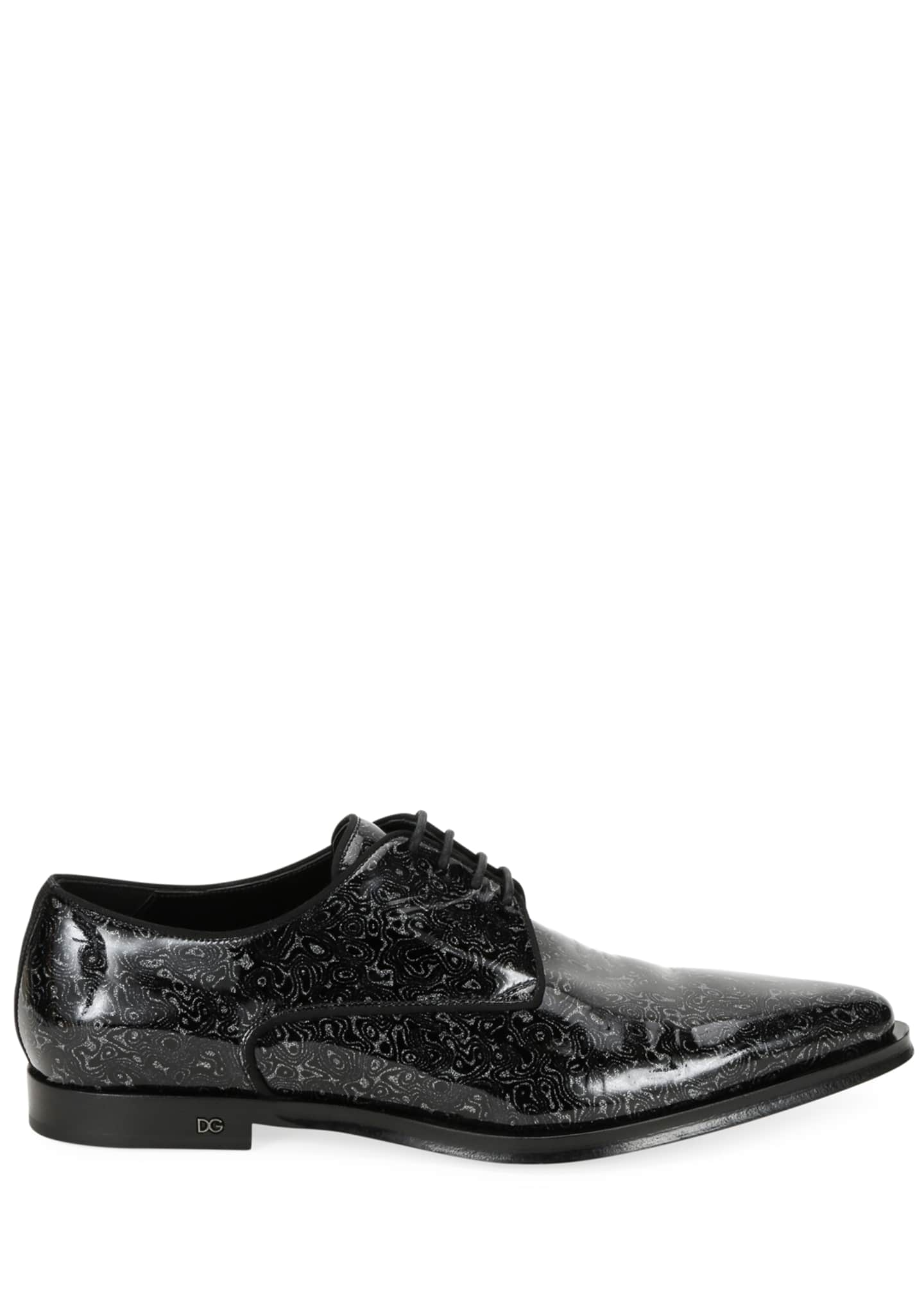 Image 3 of 4: Men's Printed Patent Leather Point-Toe Derby Shoes