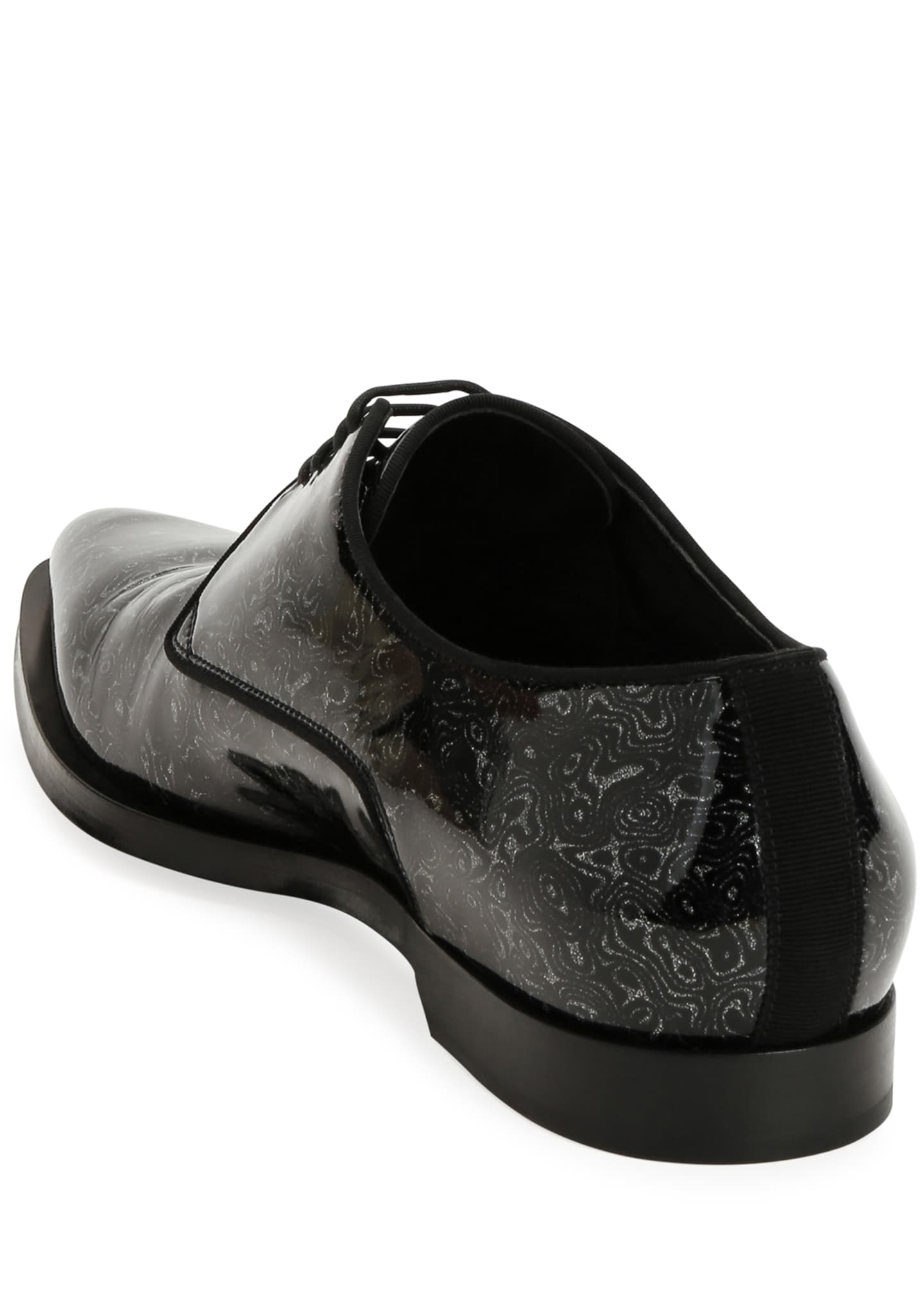 Image 4 of 4: Men's Printed Patent Leather Point-Toe Derby Shoes