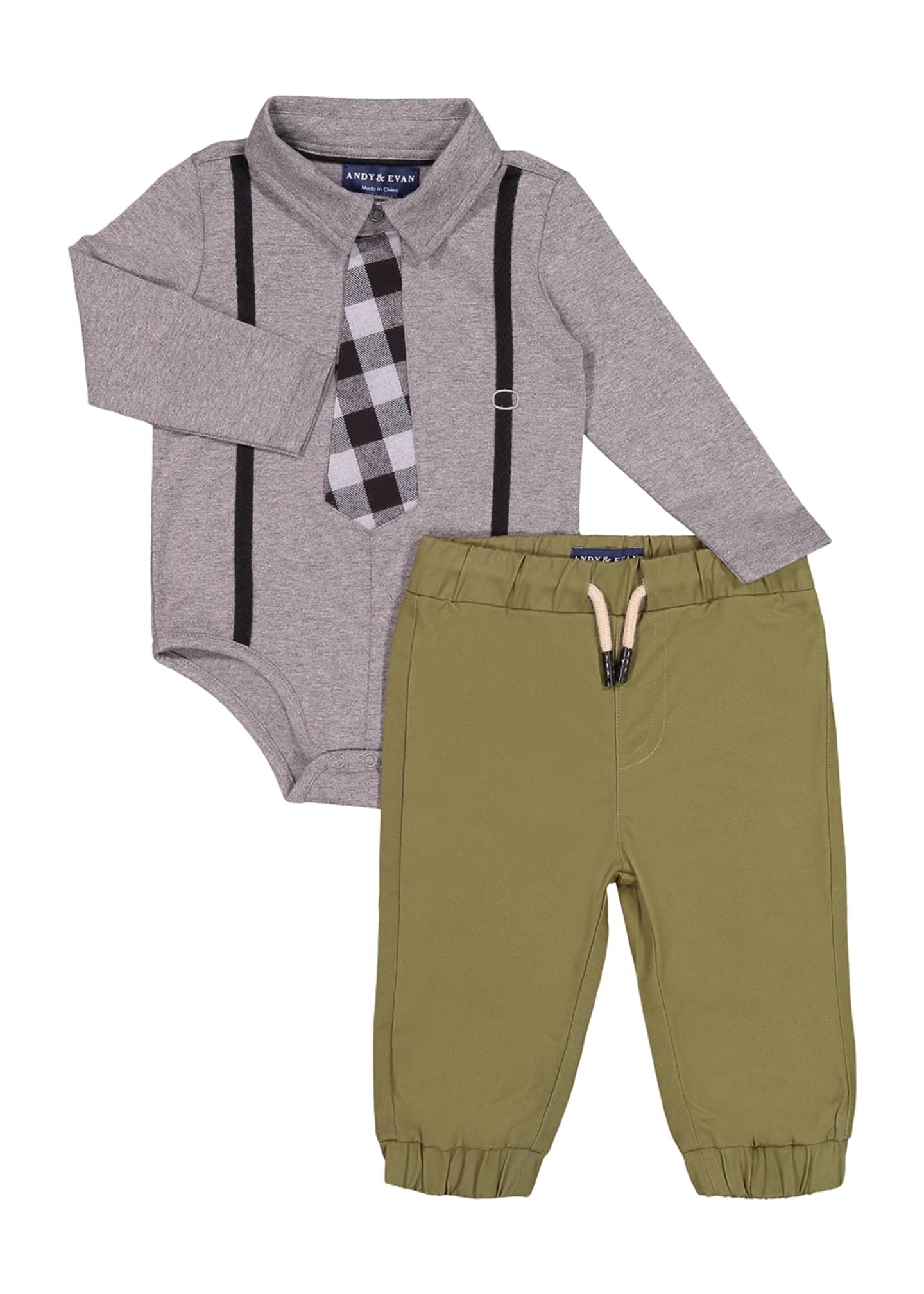 Andy & Evan Boy's Suspender Shirtzie Bodysuit w/