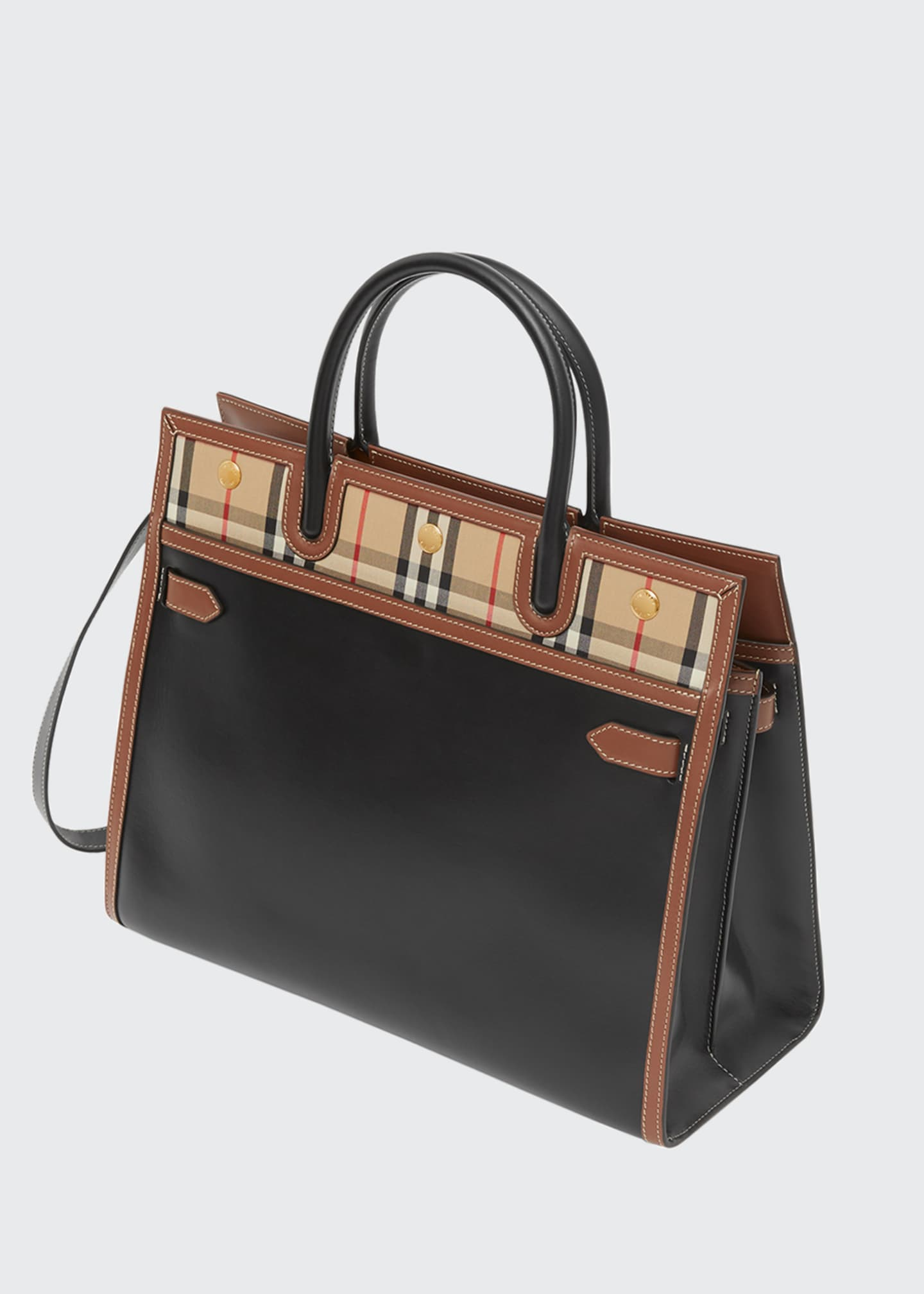 Image 3 of 3: Title Large Double-Handle Smooth Leather Pocket Tote Bag