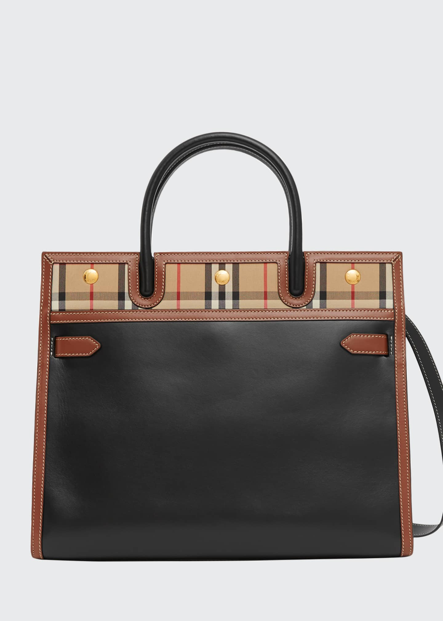 Image 1 of 3: Title Large Double-Handle Smooth Leather Pocket Tote Bag