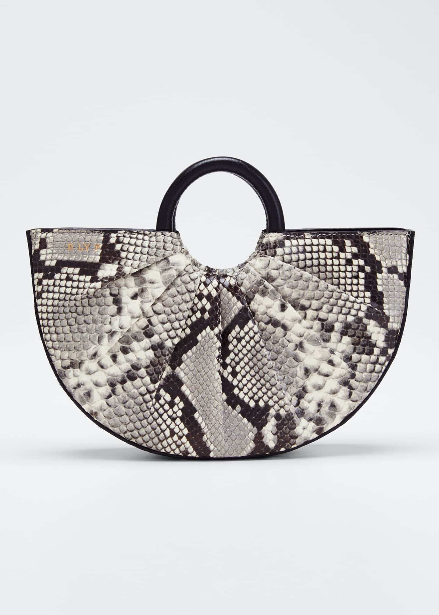 D LY P Python-Print Mini Top Handle Tote