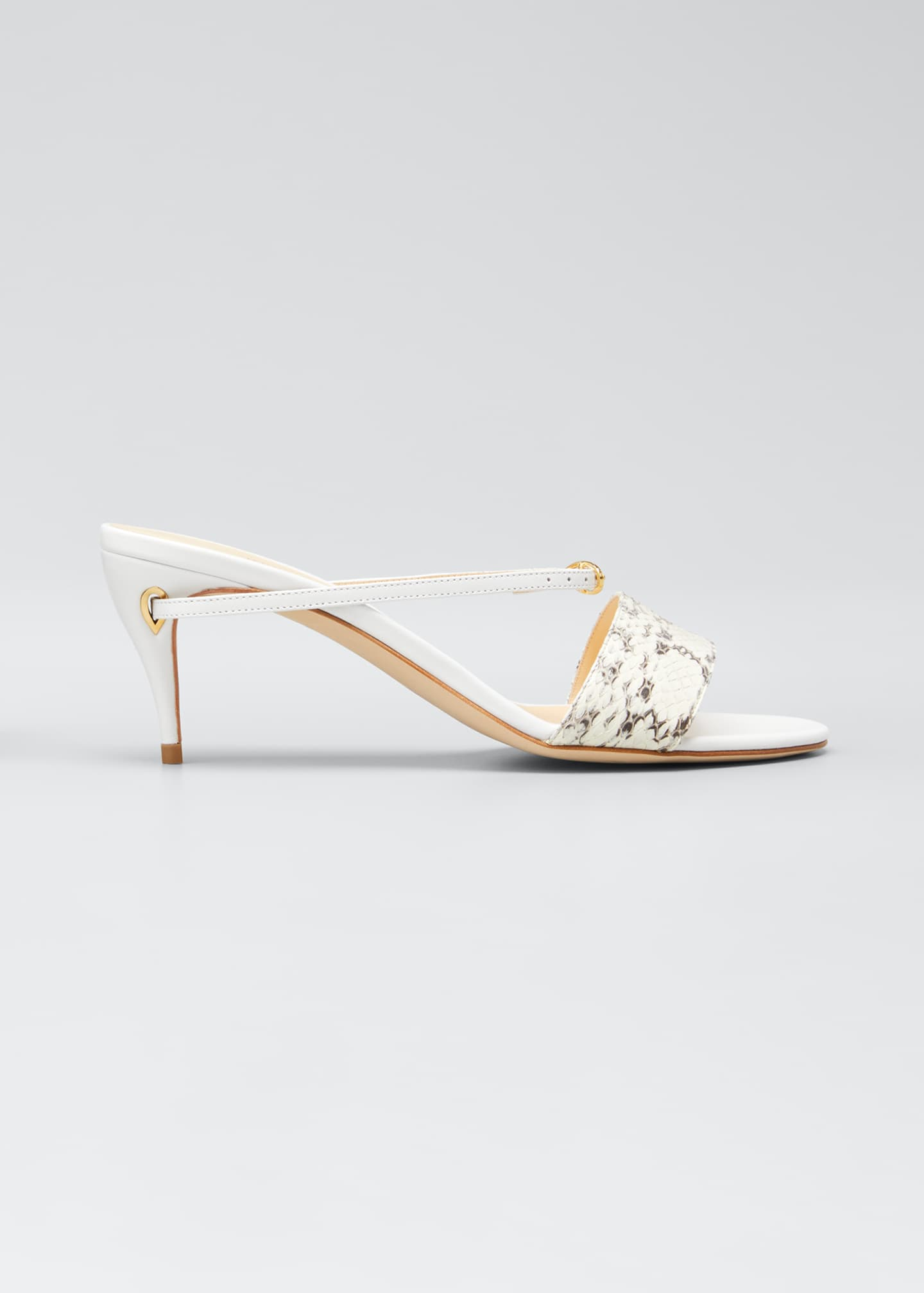 Jennifer Chamandi Andrea Snake/Leather Mule Sandals