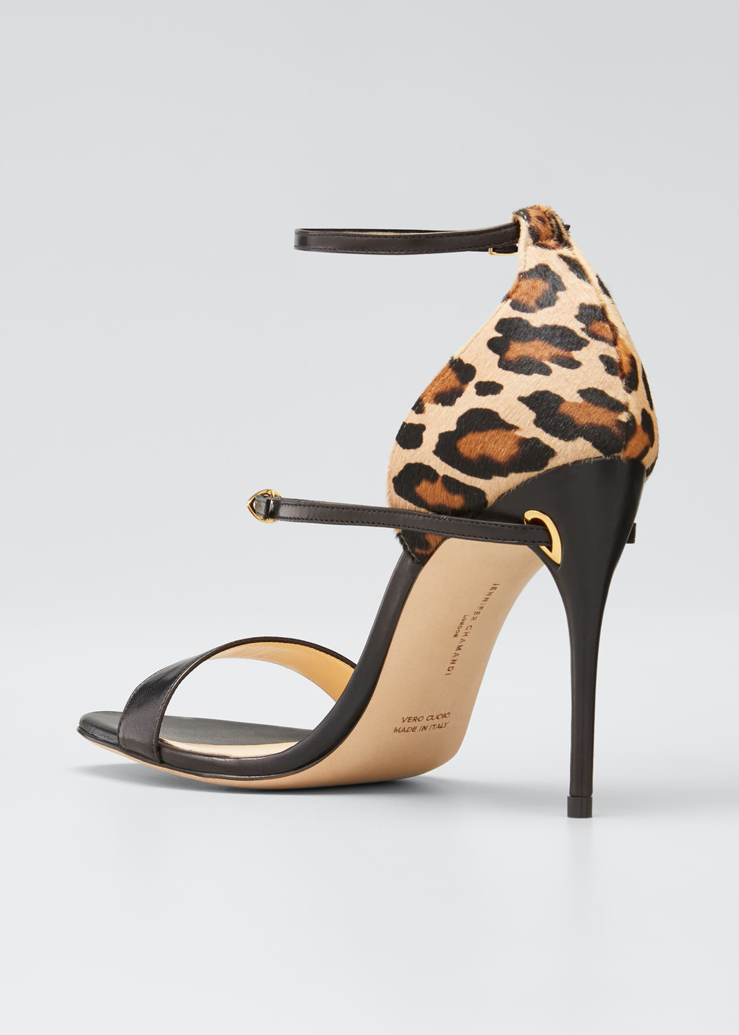 Image 2 of 3: Rolando Leather & Leopard Ankle-Strap Sandals