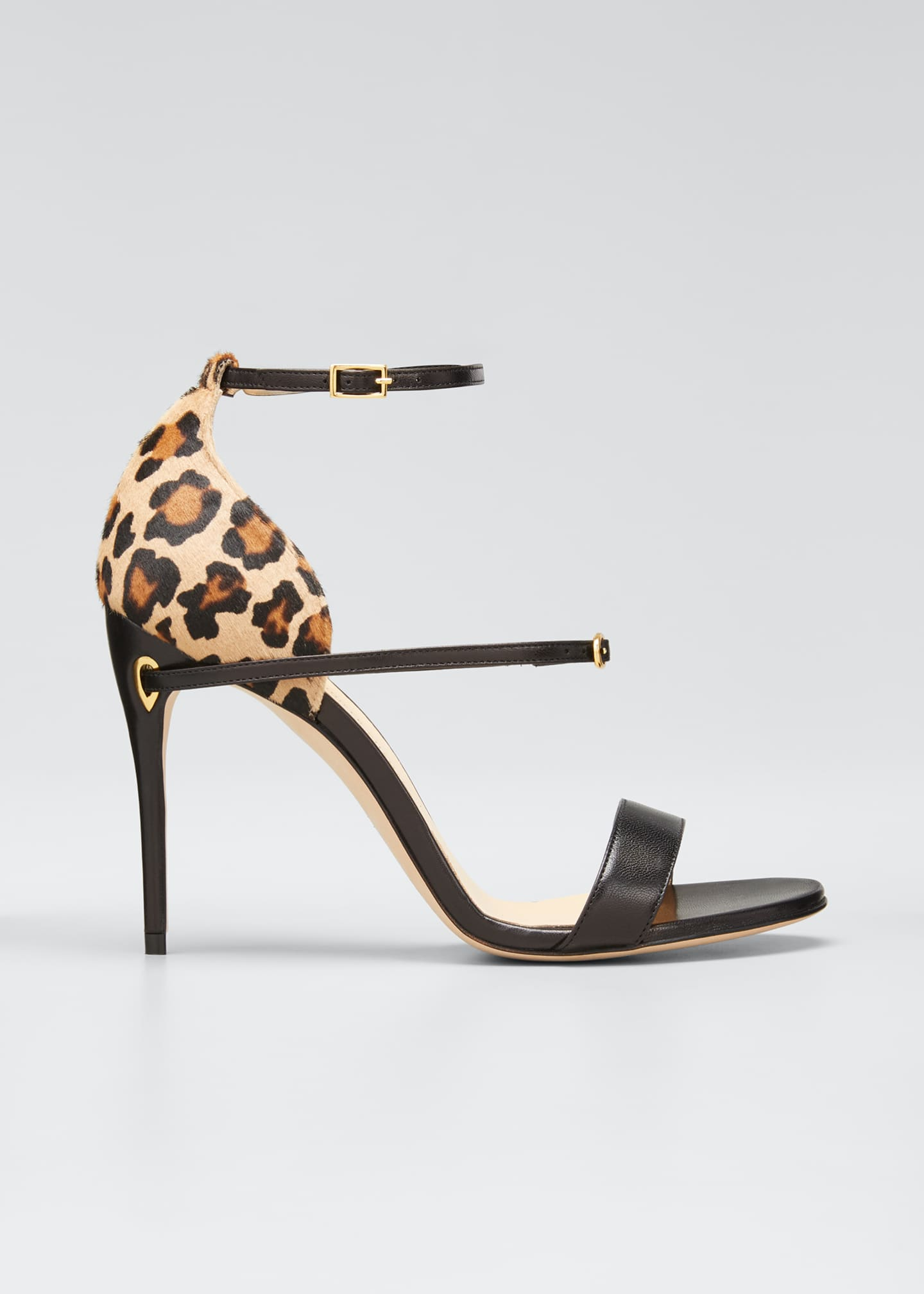 Image 1 of 3: Rolando Leather & Leopard Ankle-Strap Sandals