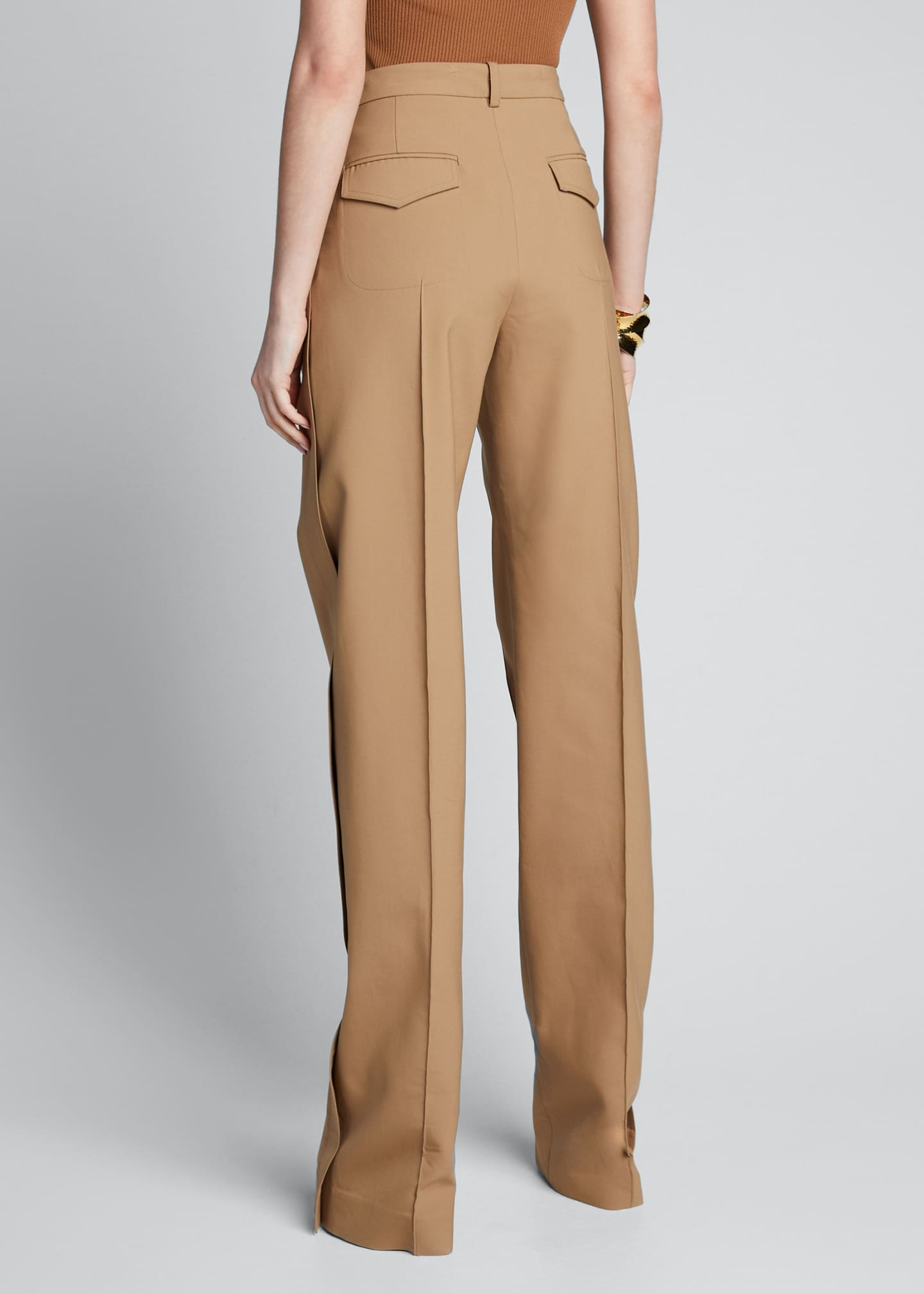 Image 2 of 5: Cotton Side-Pleated Trousers