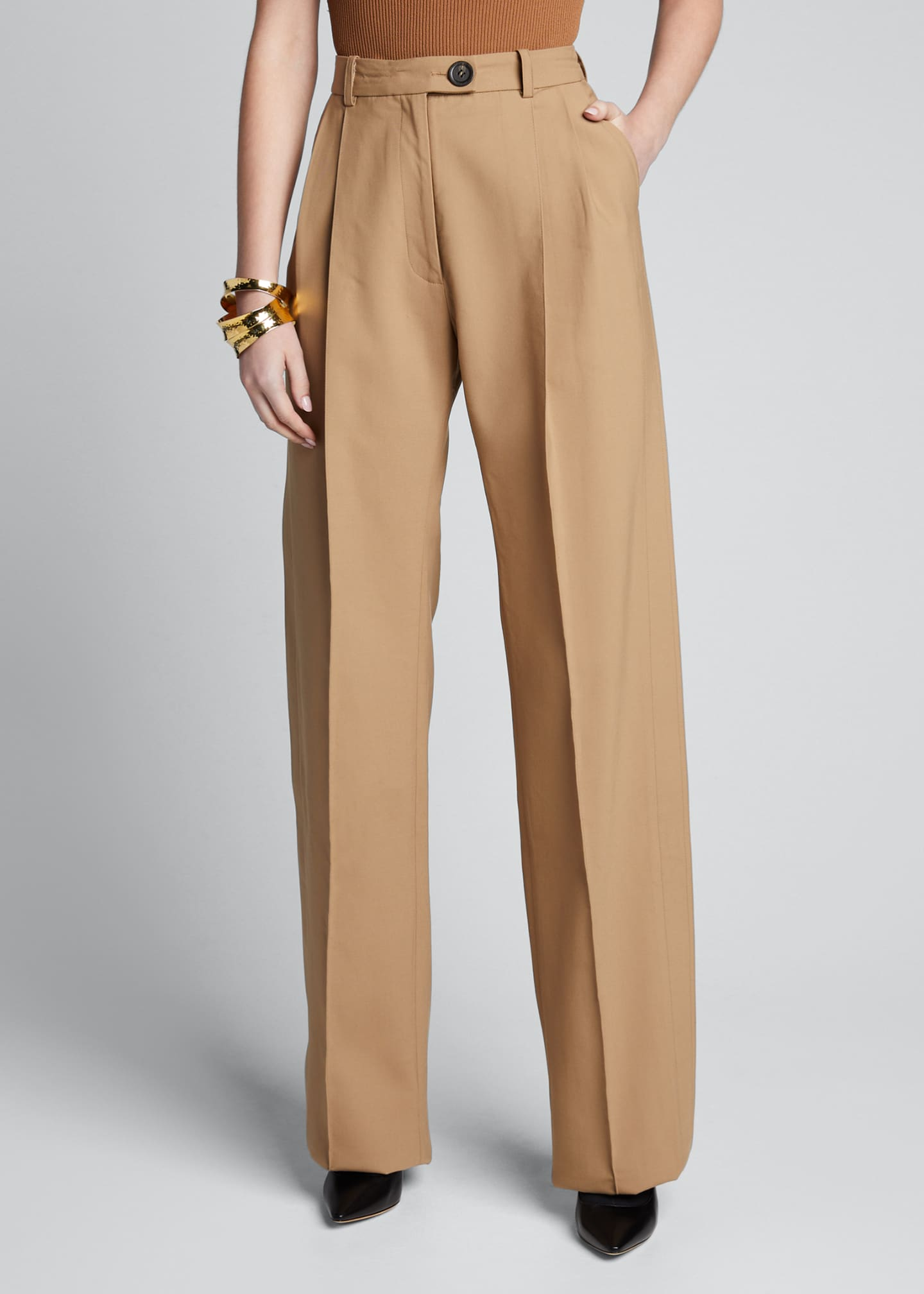 Image 3 of 5: Cotton Side-Pleated Trousers