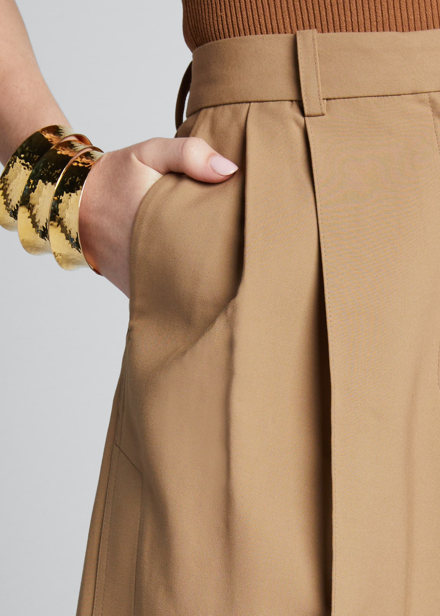 Image 4 of 5: Cotton Side-Pleated Trousers