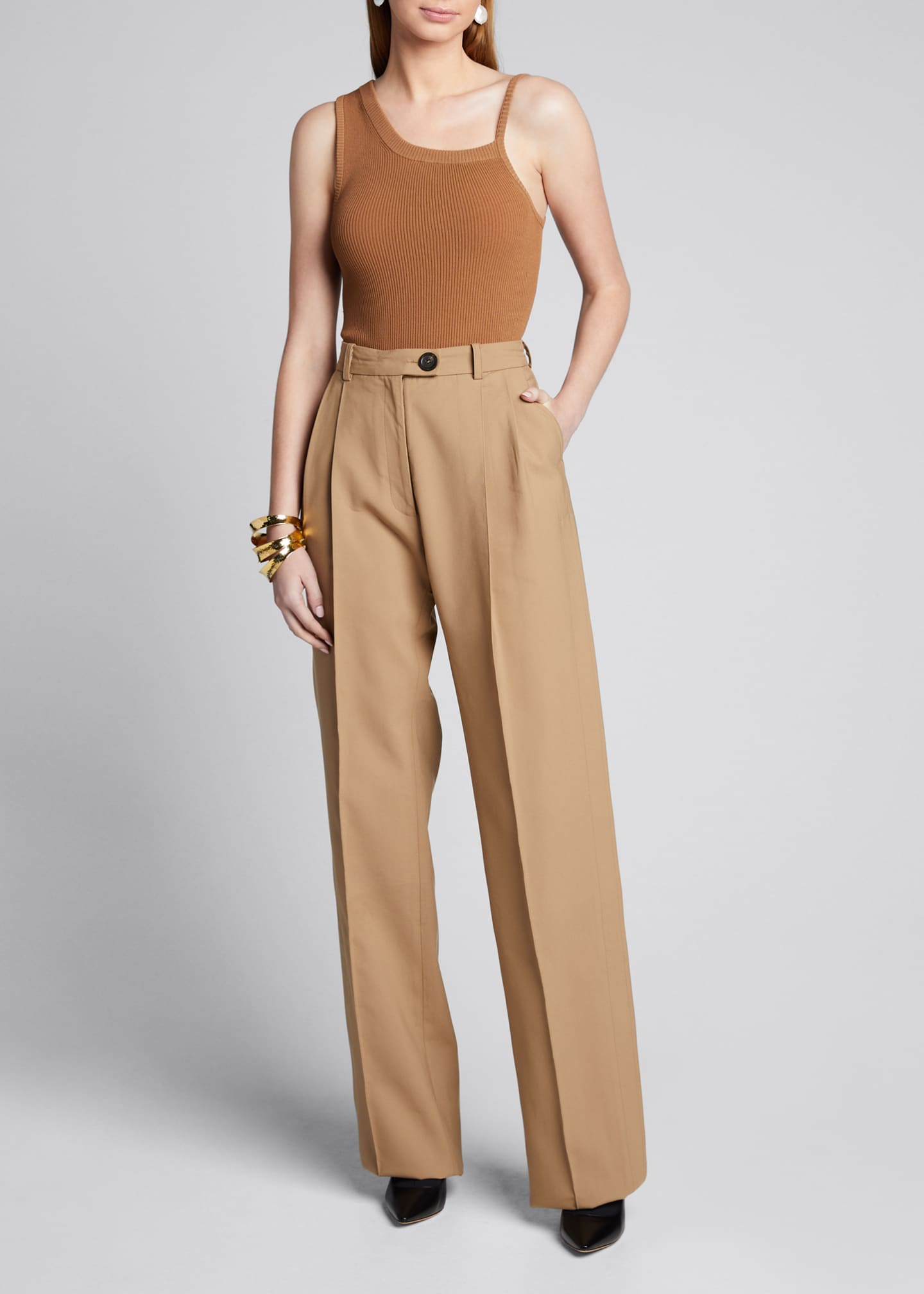 Image 1 of 5: Cotton Side-Pleated Trousers