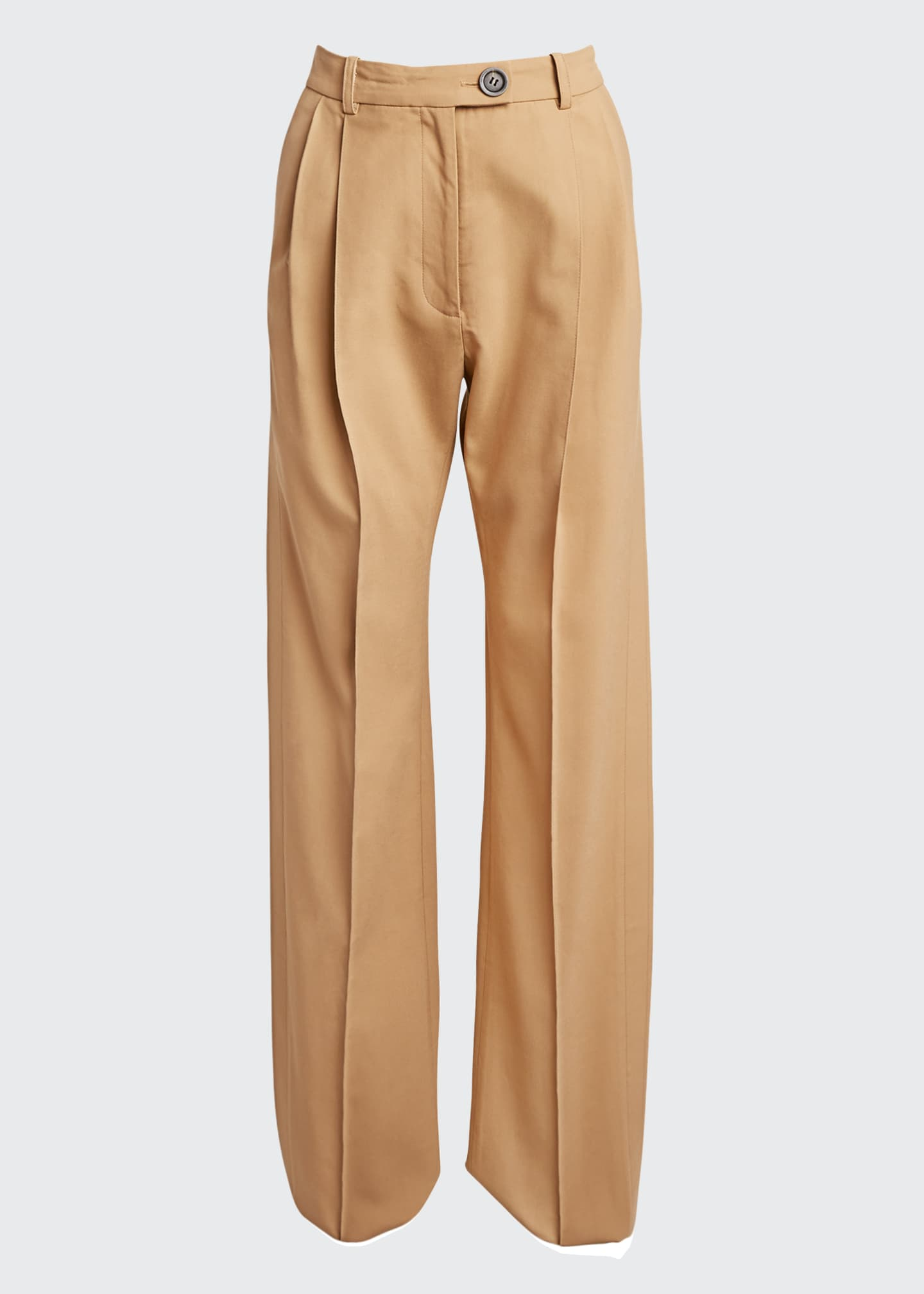 Image 5 of 5: Cotton Side-Pleated Trousers