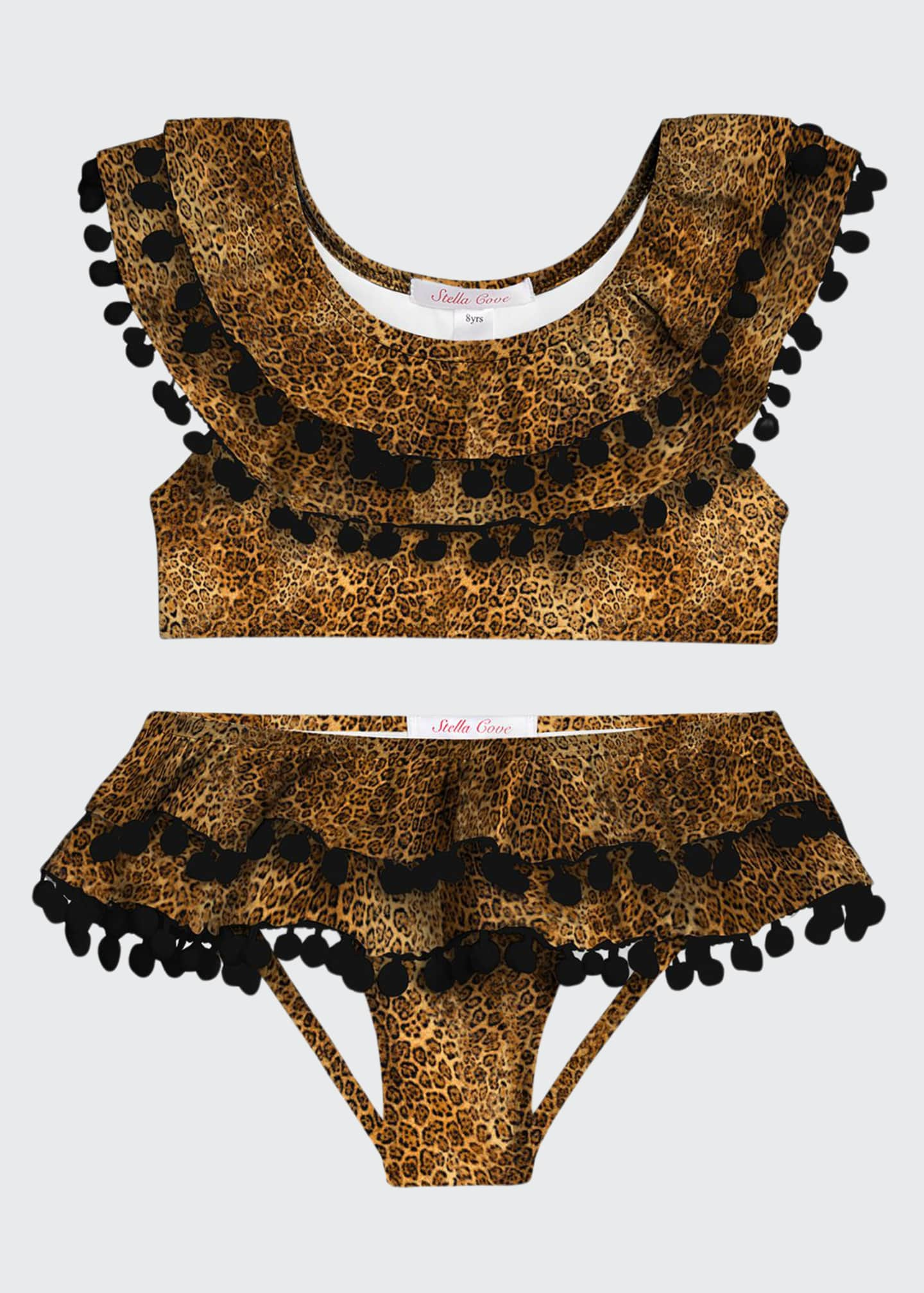 Image 1 of 1: Girl's Leopard Print Double Ruffle Pompom Two-Piece Bikini Set, Size 4-14