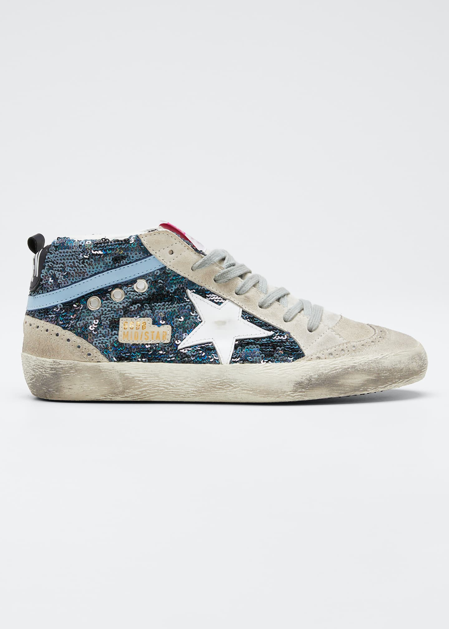 Golden Goose Mid-Star Lace-Up Sequin Sneakers