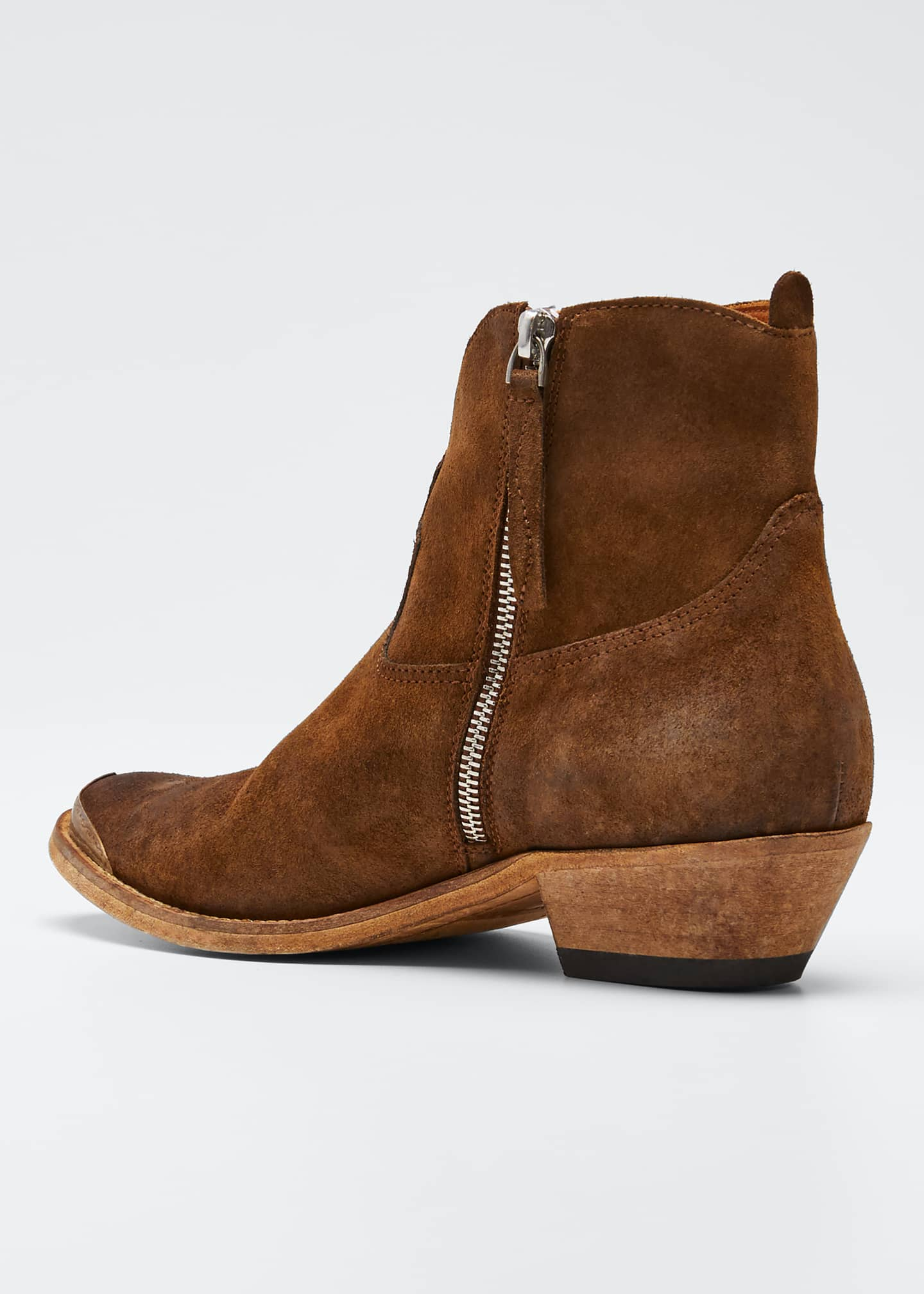Image 2 of 3: Young Suede Cap-Toe Western Booties