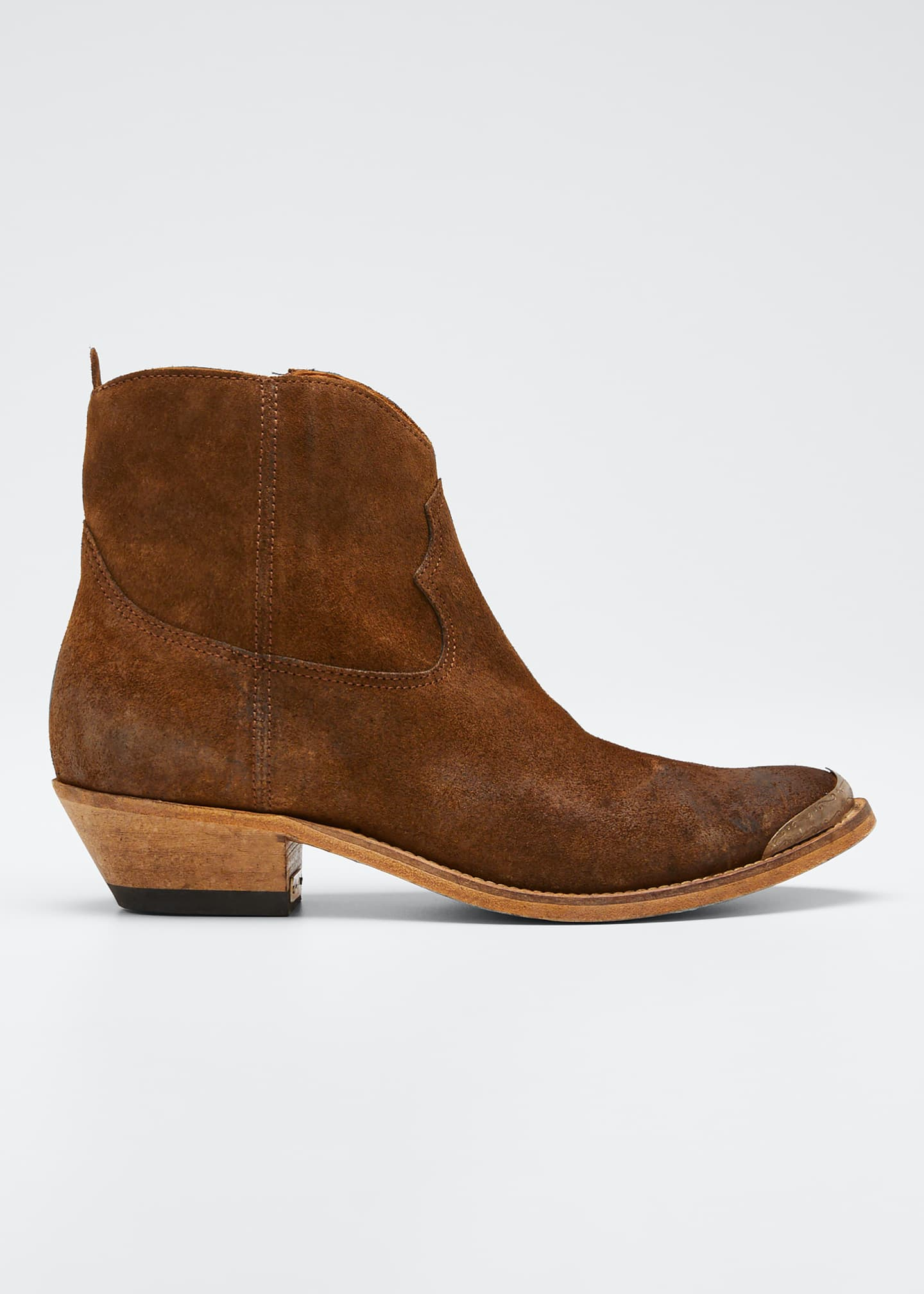Image 1 of 3: Young Suede Cap-Toe Western Booties