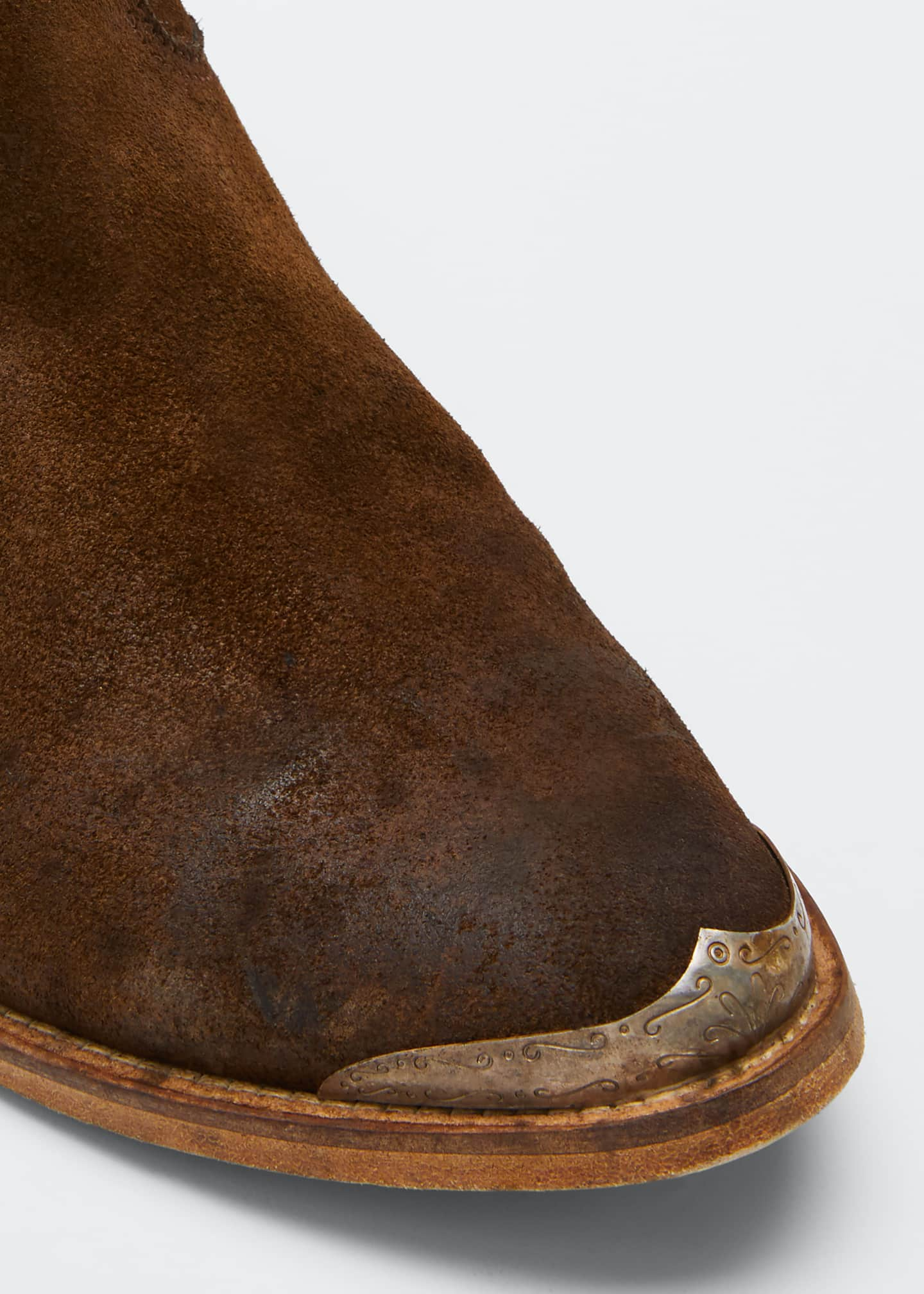 Image 3 of 3: Young Suede Cap-Toe Western Booties