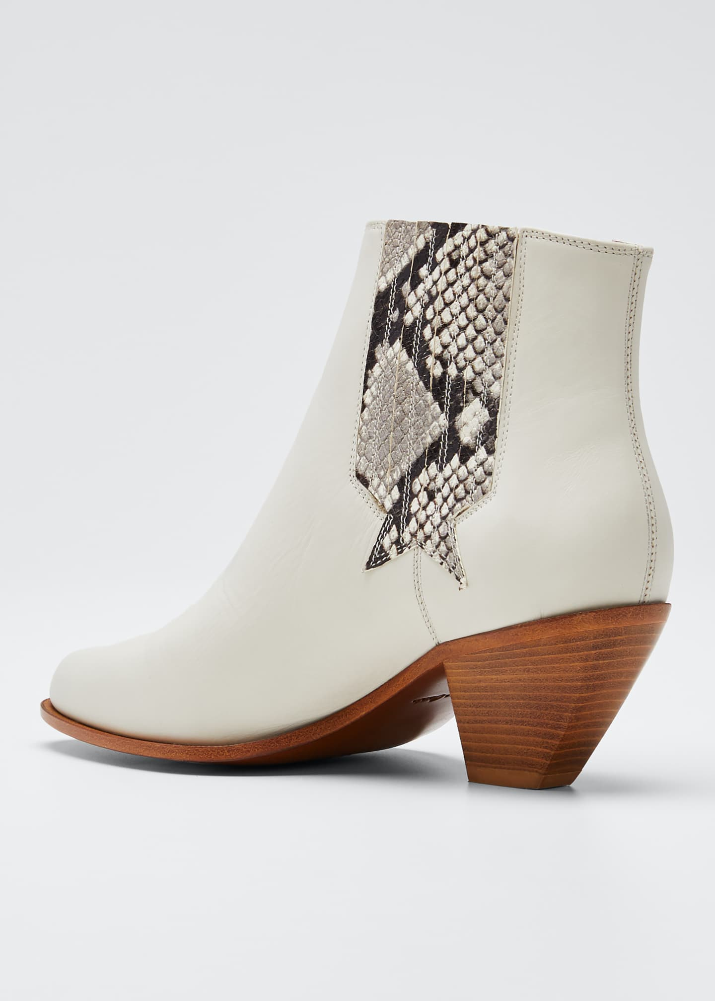 Image 2 of 3: Sunset Snake-Print Leather Booties