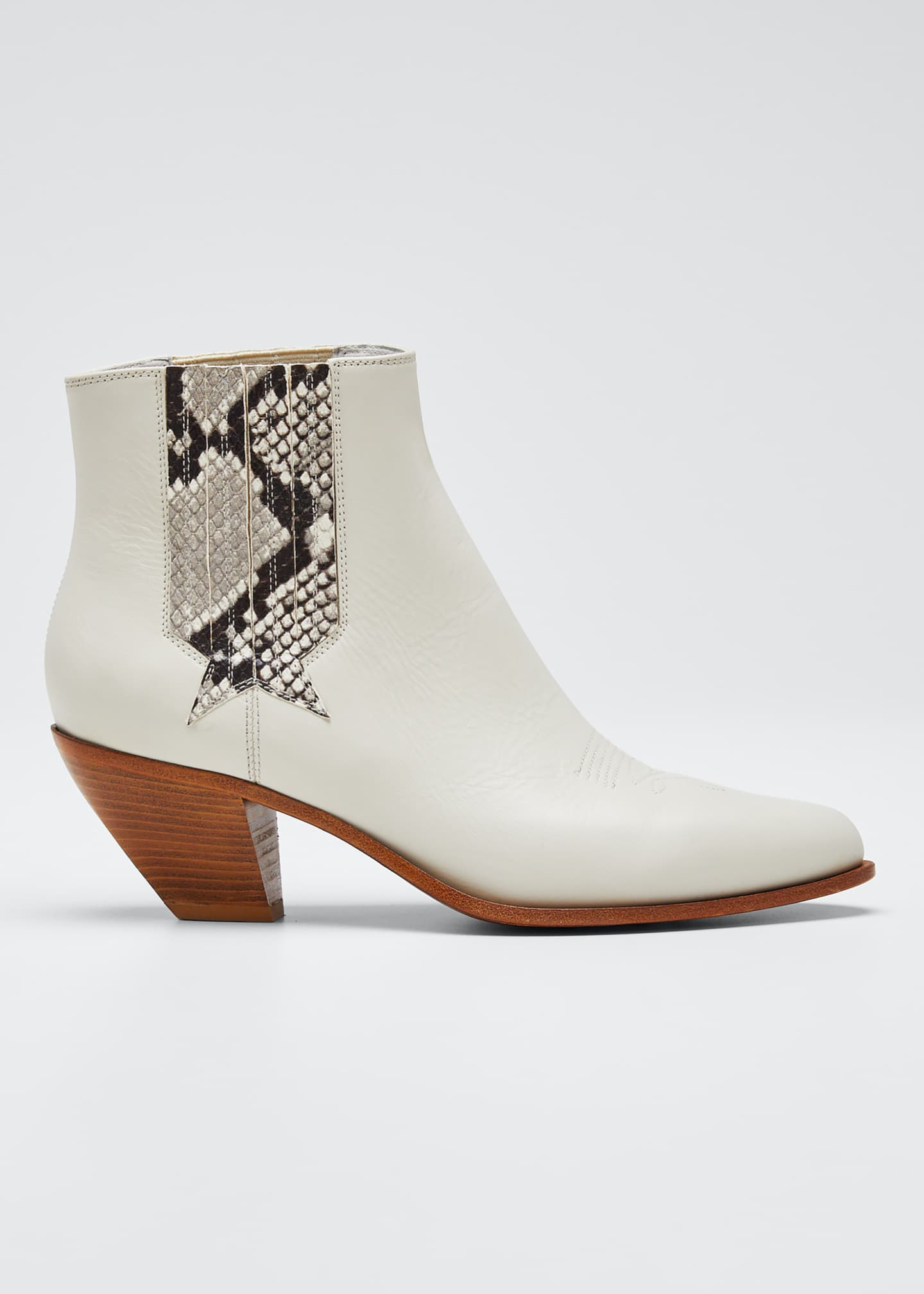 Image 1 of 3: Sunset Snake-Print Leather Booties