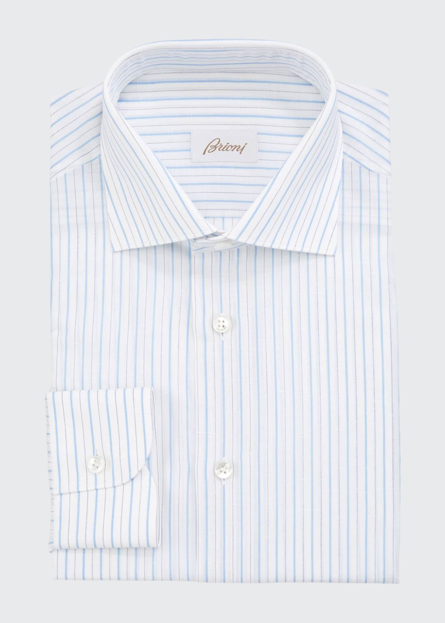 Brioni Men's Cotton-Linen Striped Dress Shirt