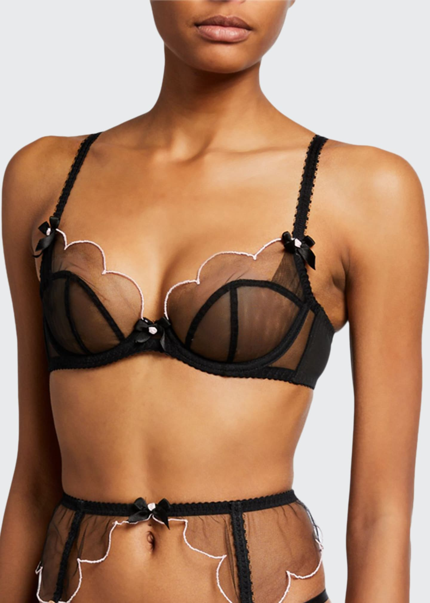 Image 1 of 2: Lorna Tulle Half-Cup Bra
