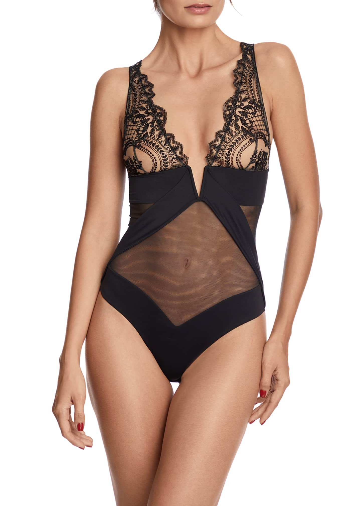 Image 1 of 2: Questa Sera Embroidered Tulle Bodysuit