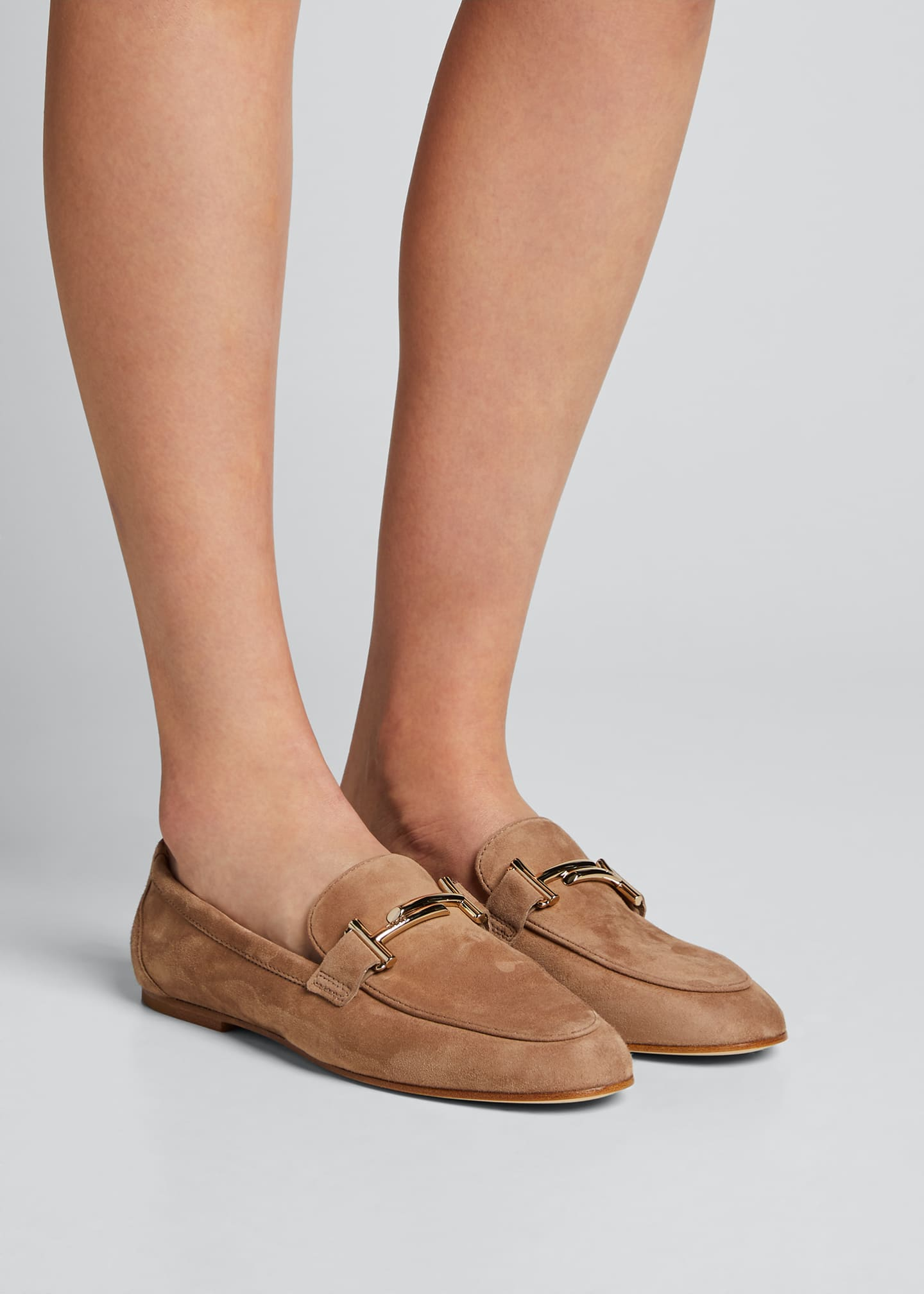 Image 2 of 5: Double-T Scrunched Suede Loafers