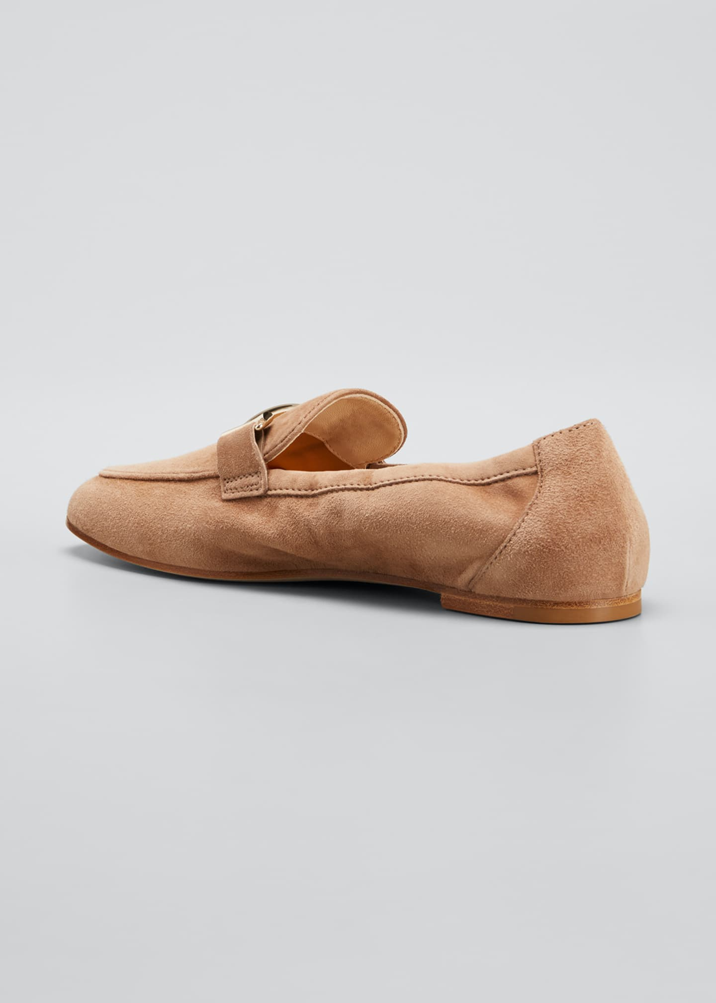 Image 4 of 5: Double-T Scrunched Suede Loafers