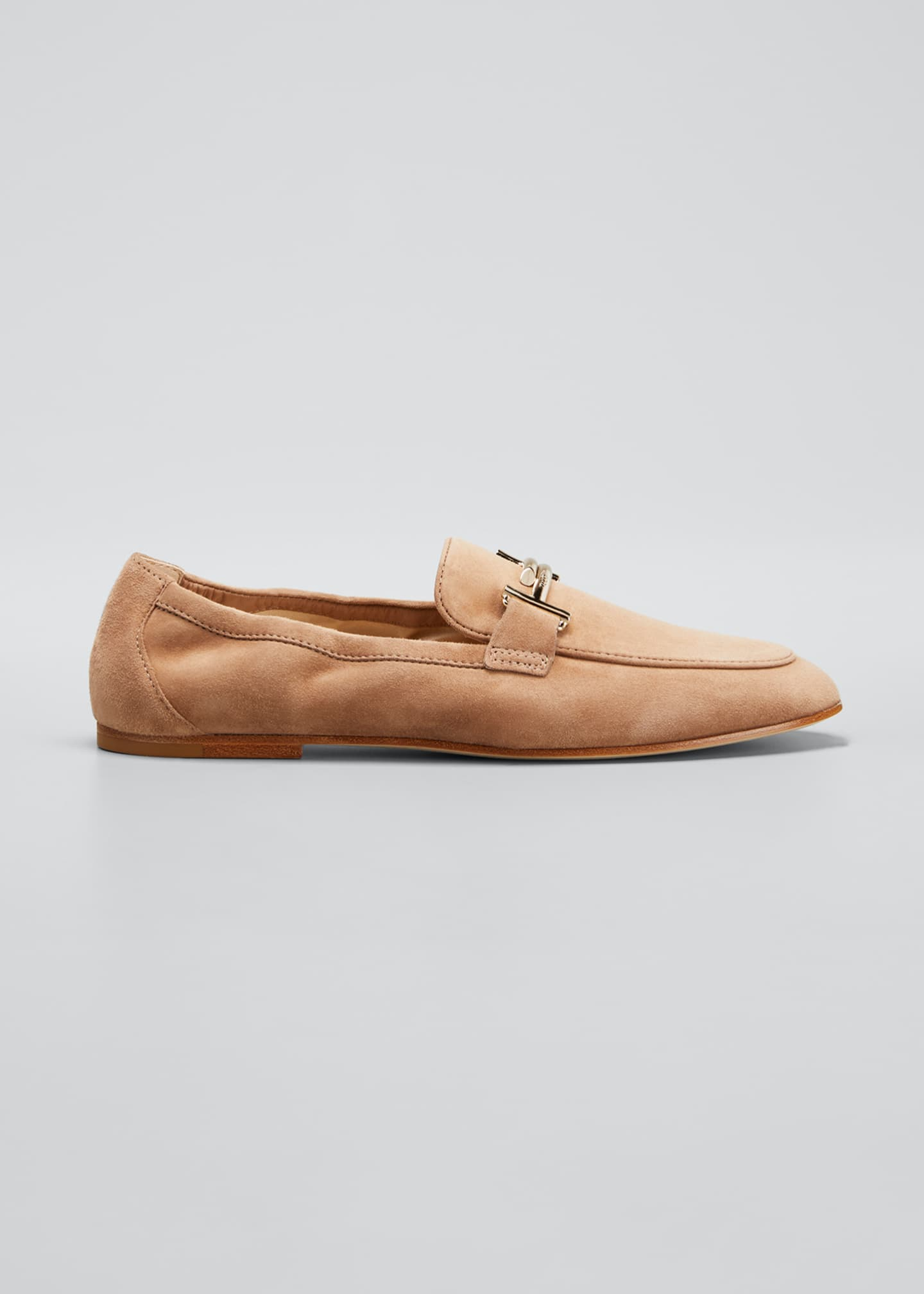 Image 1 of 5: Double-T Scrunched Suede Loafers