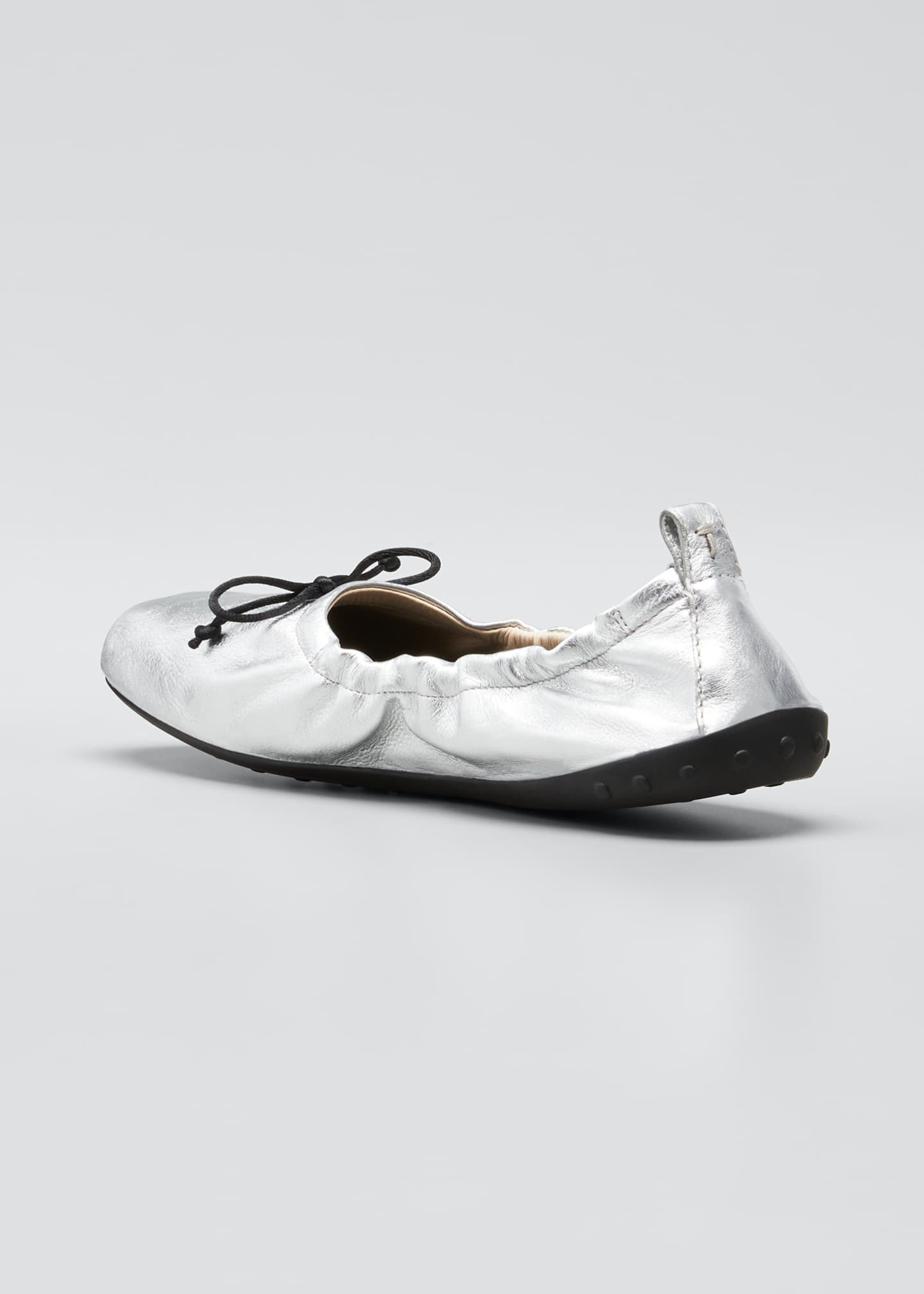 Image 2 of 3: Laccetto Metallic Leather Ballerina Flats