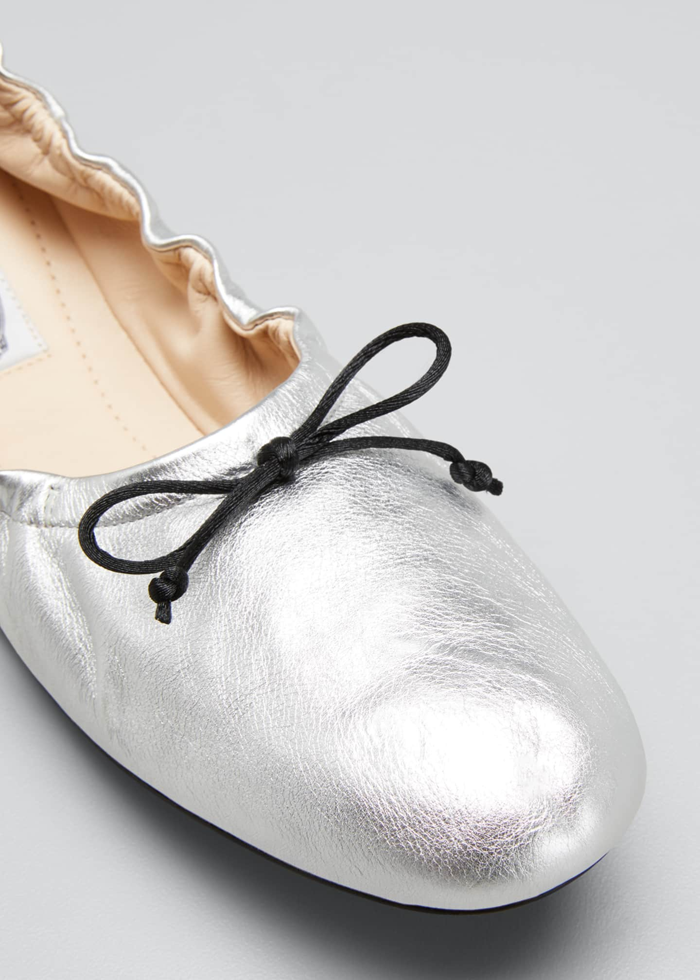 Image 3 of 3: Laccetto Metallic Leather Ballerina Flats