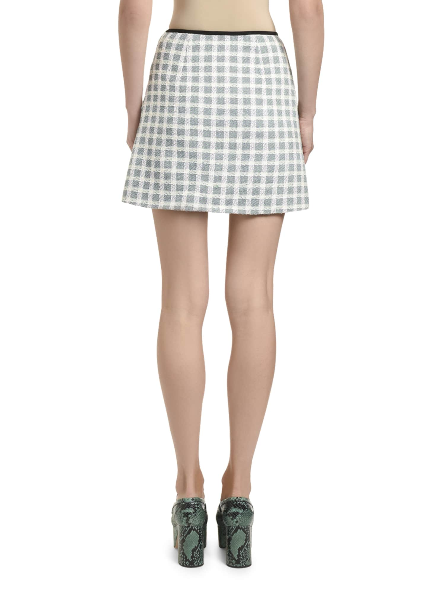 Image 2 of 2: Gonne Tweed Plaid Mini Skirt w/ Patch Pockets