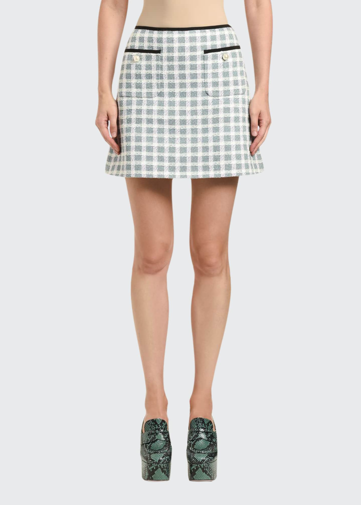 Miu Miu Gonne Tweed Plaid Mini Skirt w/