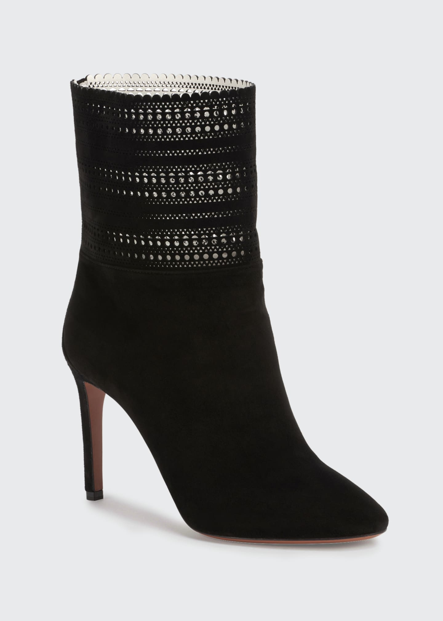 Image 2 of 4: Lazer Cut Suede Ankle Booties