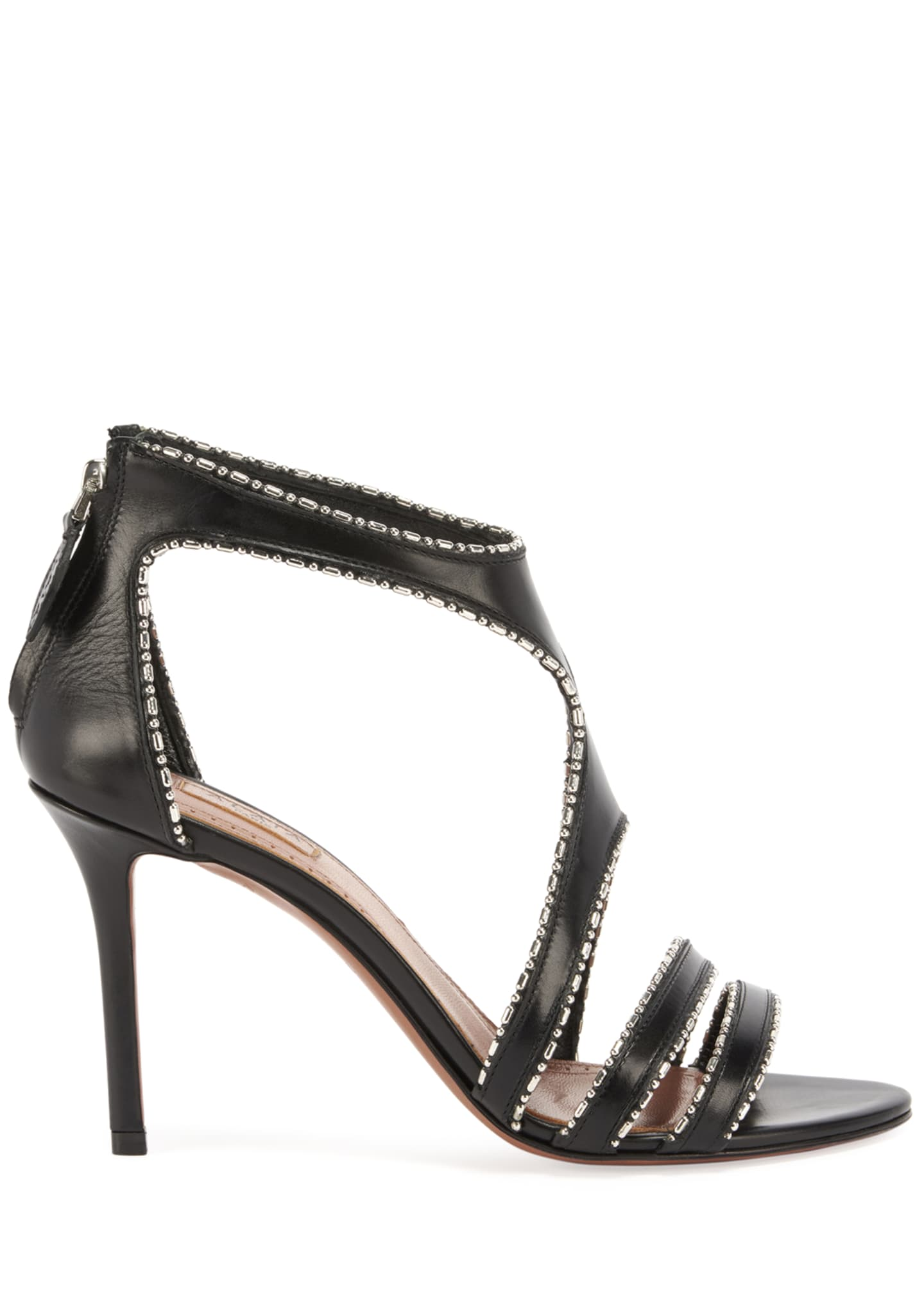 Image 2 of 4: Leather & Metal Stiletto Sandals