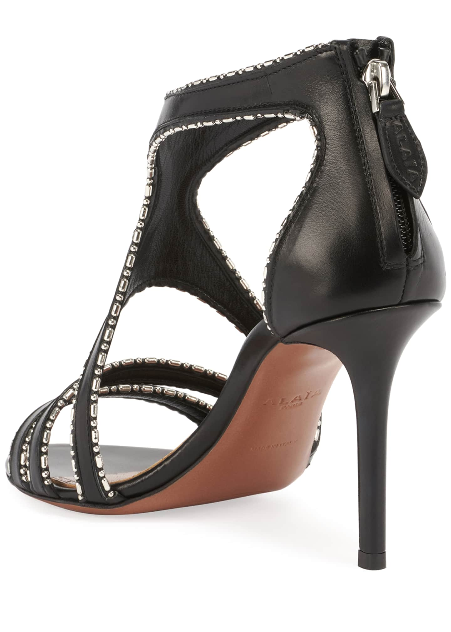 Image 3 of 4: Leather & Metal Stiletto Sandals