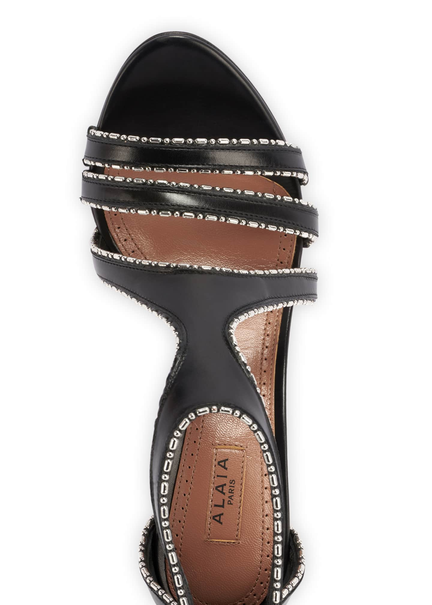 Image 4 of 4: Leather & Metal Stiletto Sandals