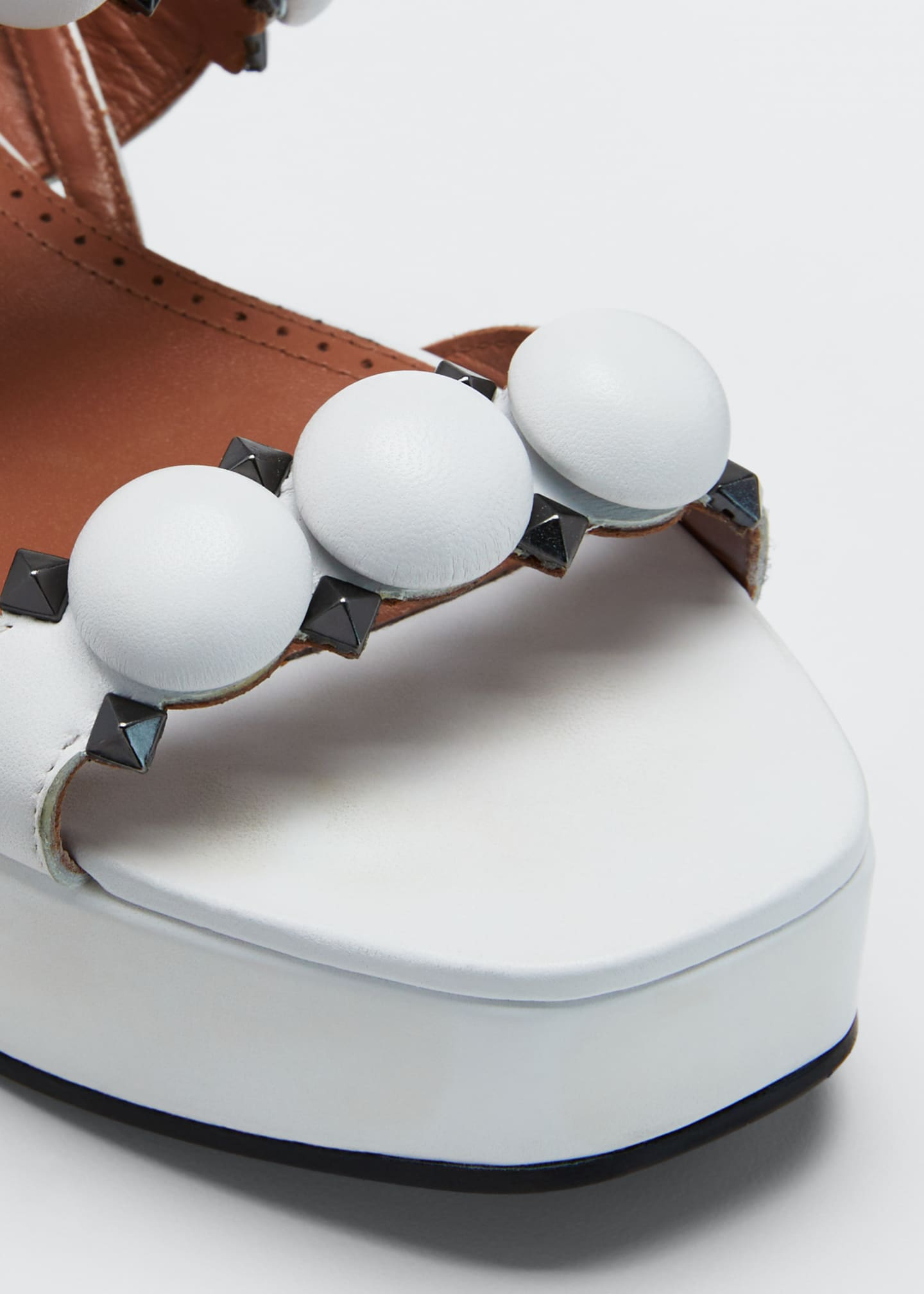 Image 3 of 3: Bombe Stud Leather Platform Sandals
