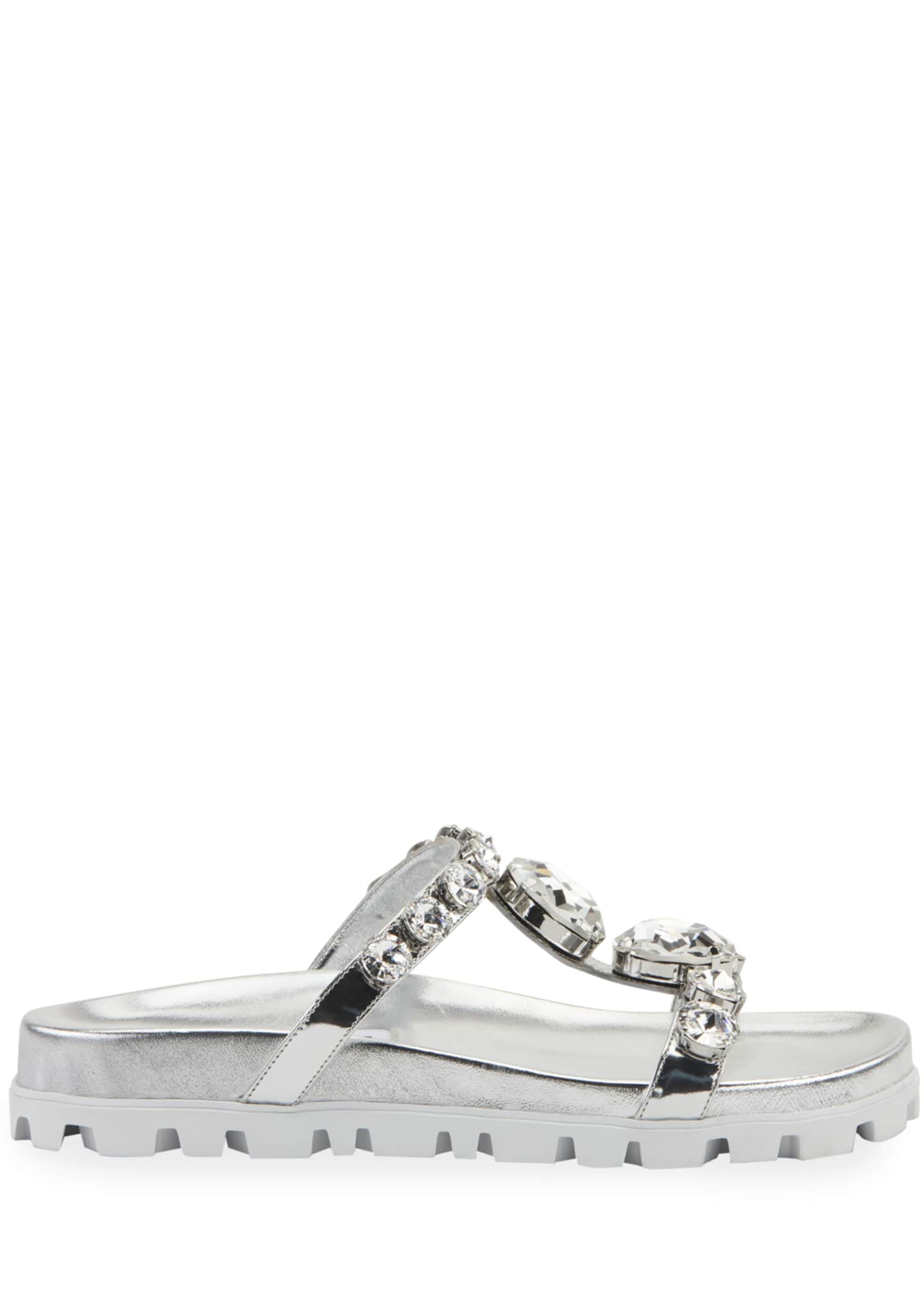 Image 2 of 2: Crystal Metallic Slide Sandals