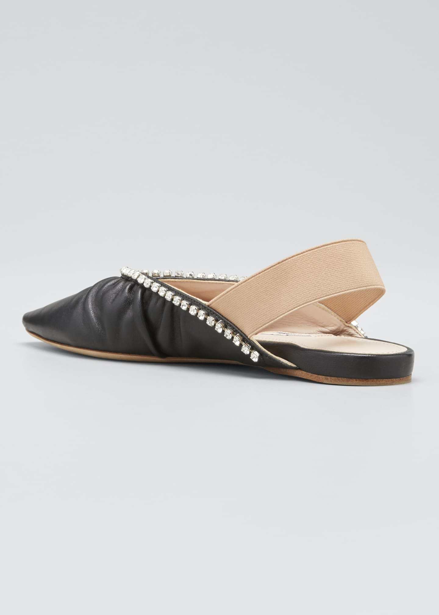 Image 2 of 3: 5mm Leather Pointed-Toe Slingback Flats