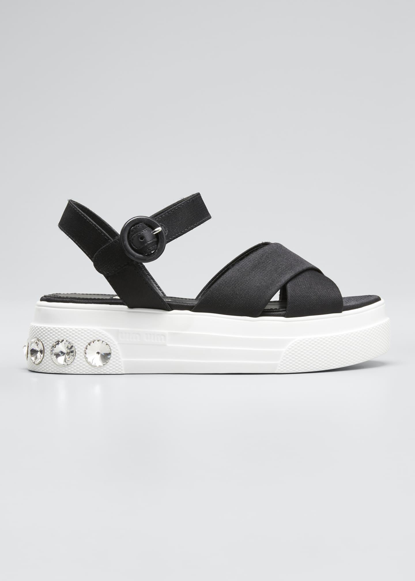 Miu Miu Canvas Flatform Sandals