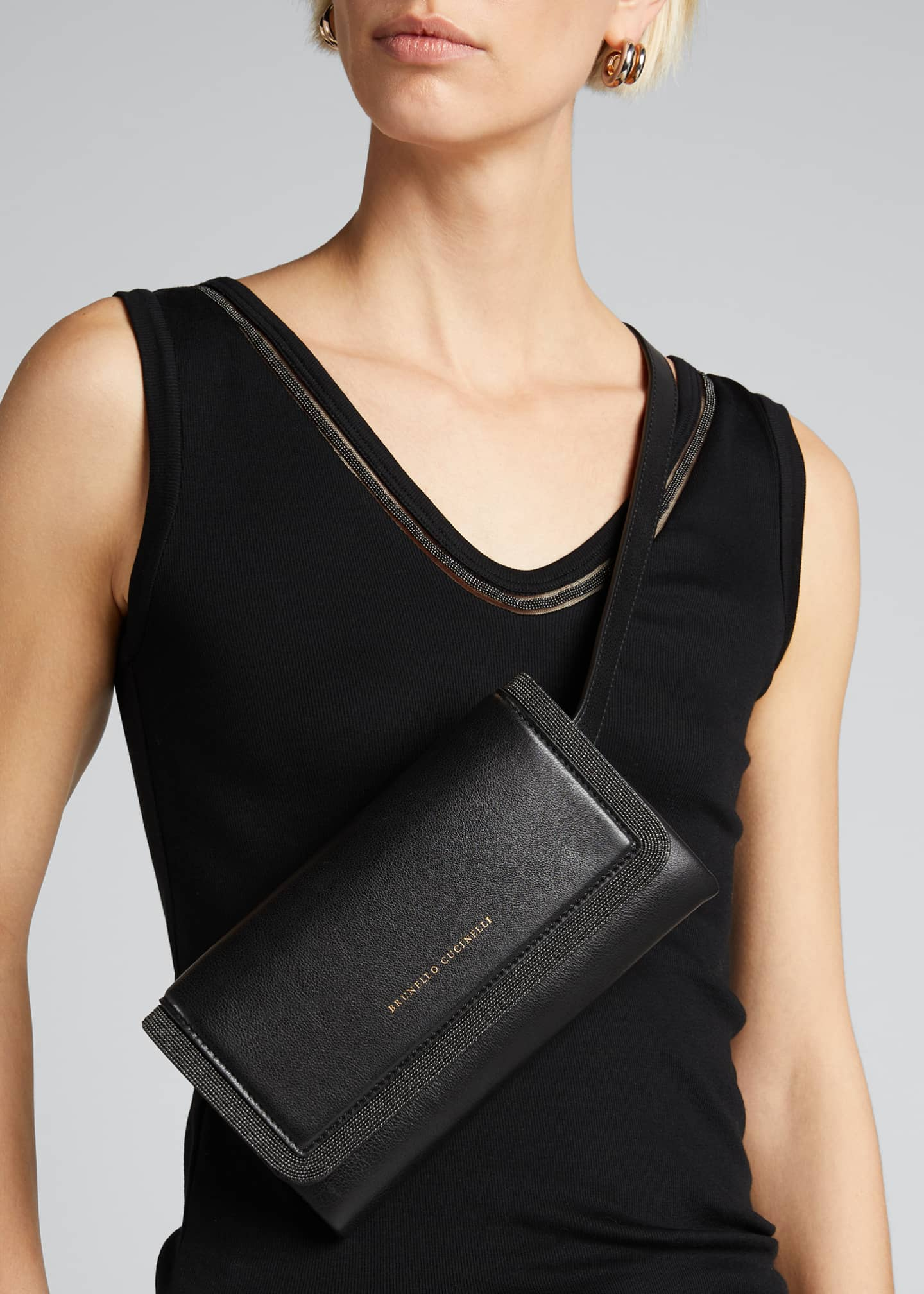 Image 2 of 5: Leather Flap-Top Belt Bag