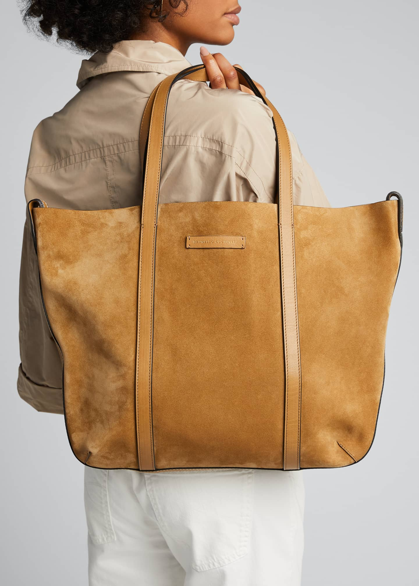 Image 2 of 5: Large Reversible Suede & Leather Tote Bag