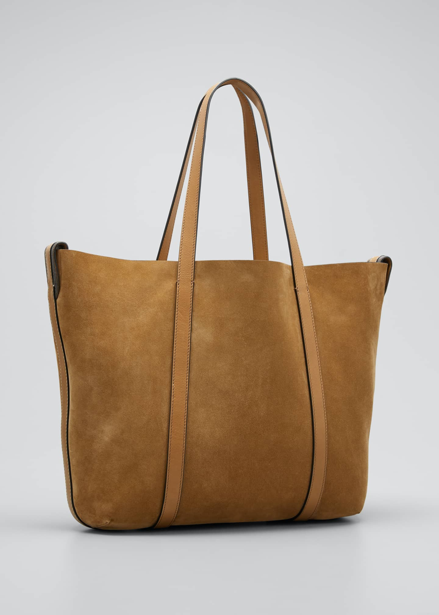 Image 3 of 5: Large Reversible Suede & Leather Tote Bag