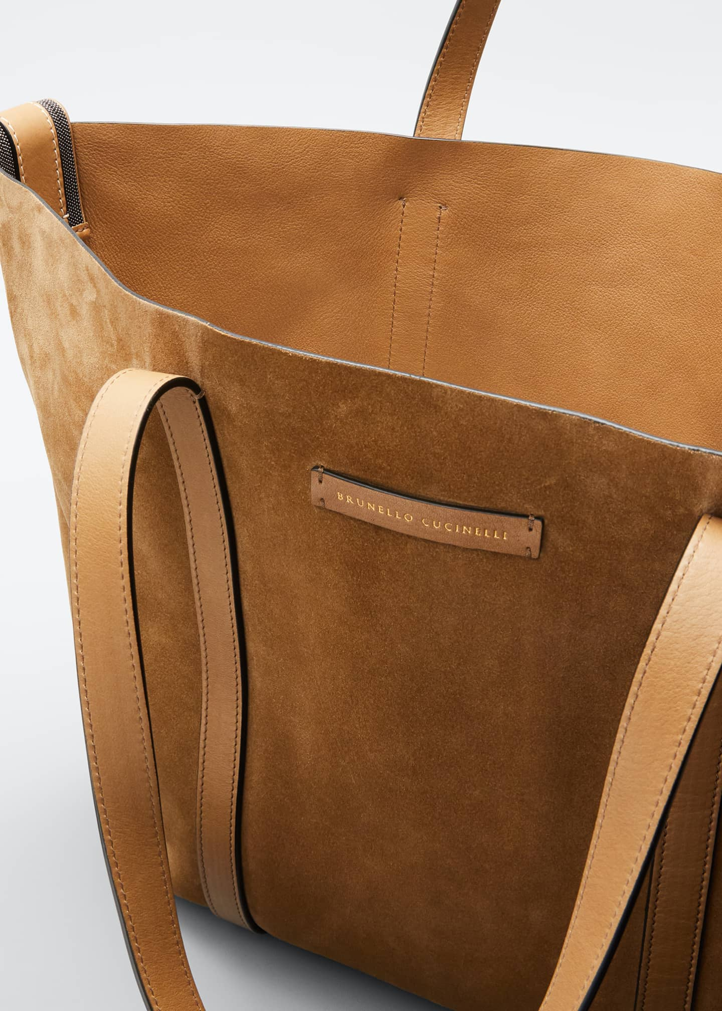 Image 4 of 5: Large Reversible Suede & Leather Tote Bag