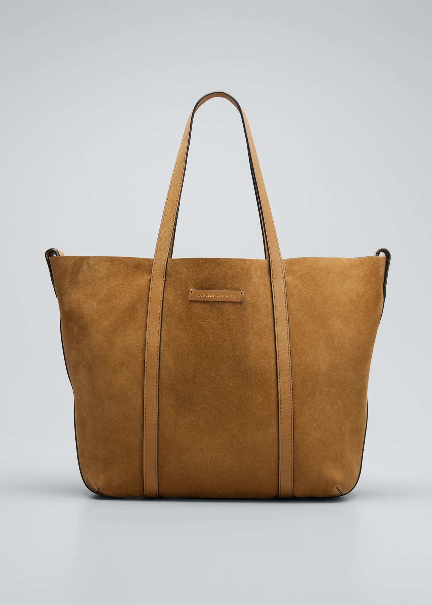 Image 1 of 5: Large Reversible Suede & Leather Tote Bag