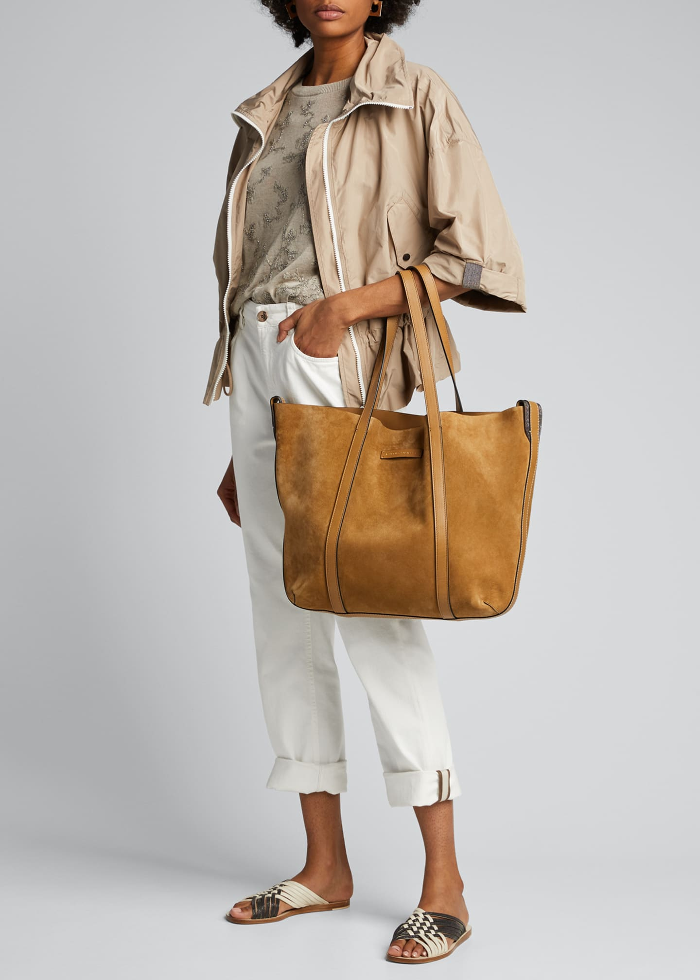 Image 5 of 5: Large Reversible Suede & Leather Tote Bag